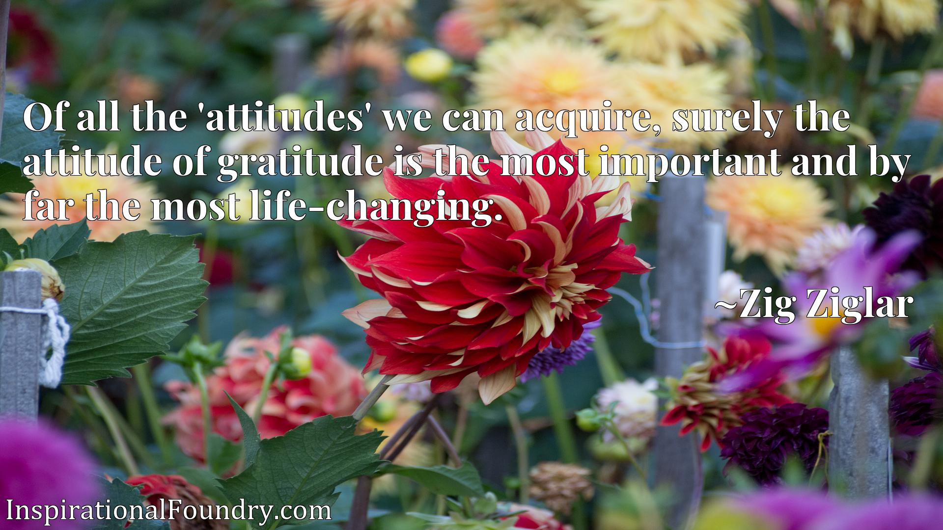 Of all the 'attitudes' we can acquire, surely the attitude of gratitude is the most important and by far the most life-changing.