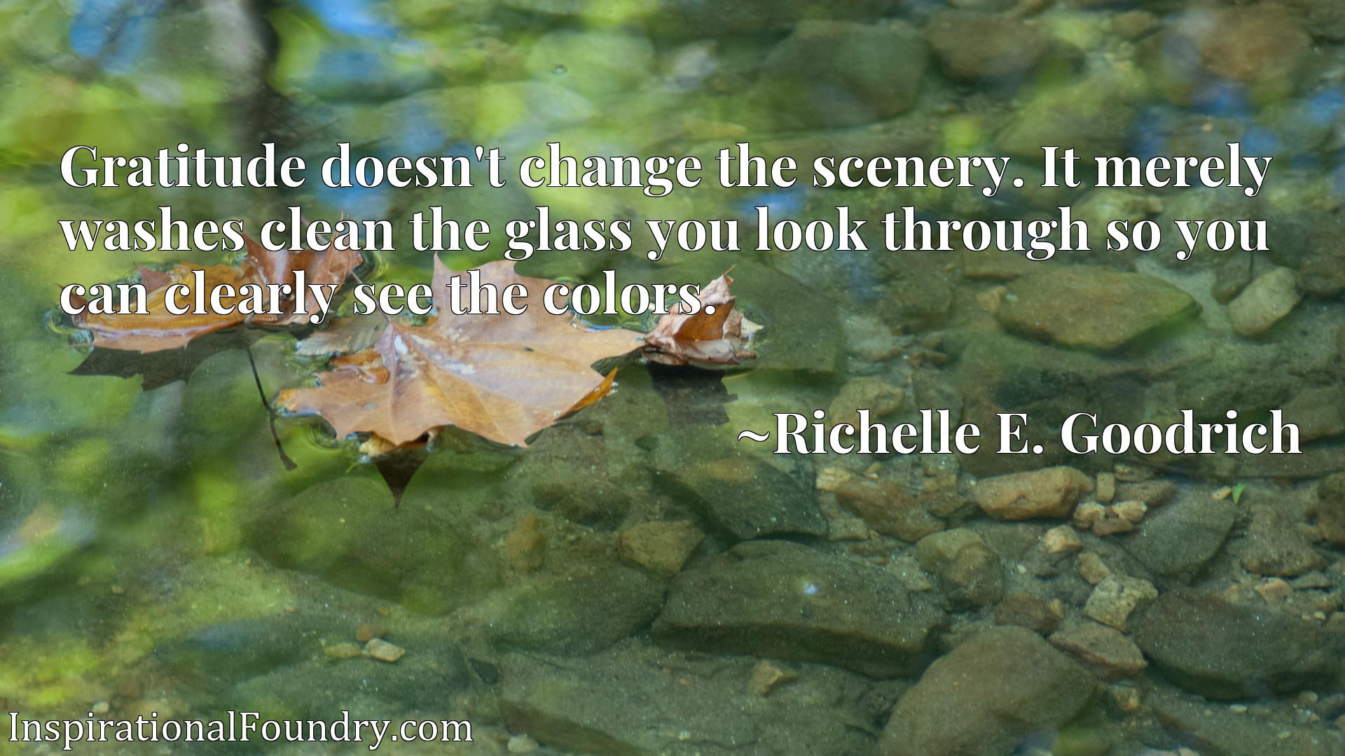 Gratitude doesn't change the scenery. It merely washes clean the glass you look through so you can clearly see the colors.