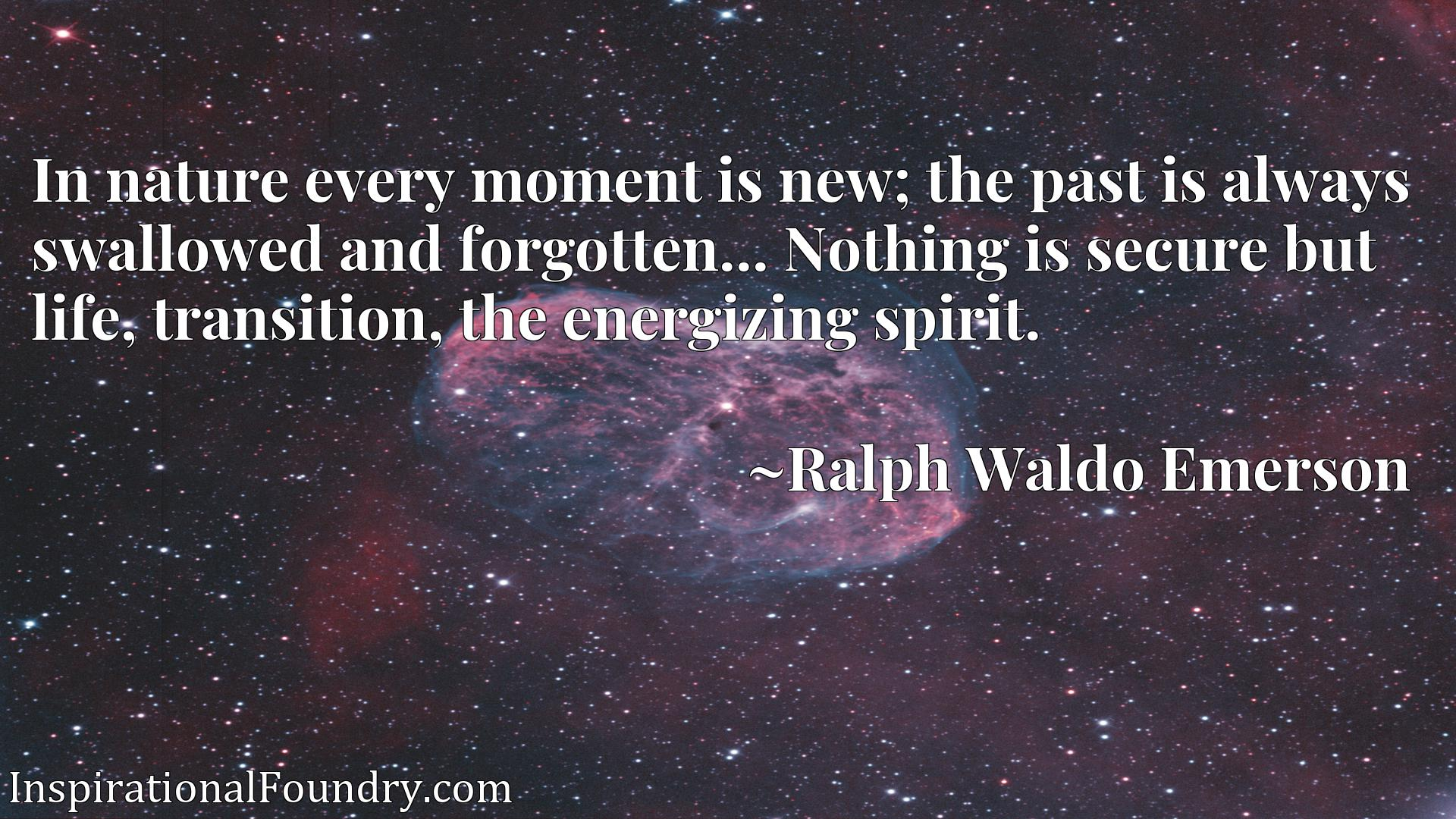 In nature every moment is new; the past is always swallowed and forgotten... Nothing is secure but life, transition, the energizing spirit.