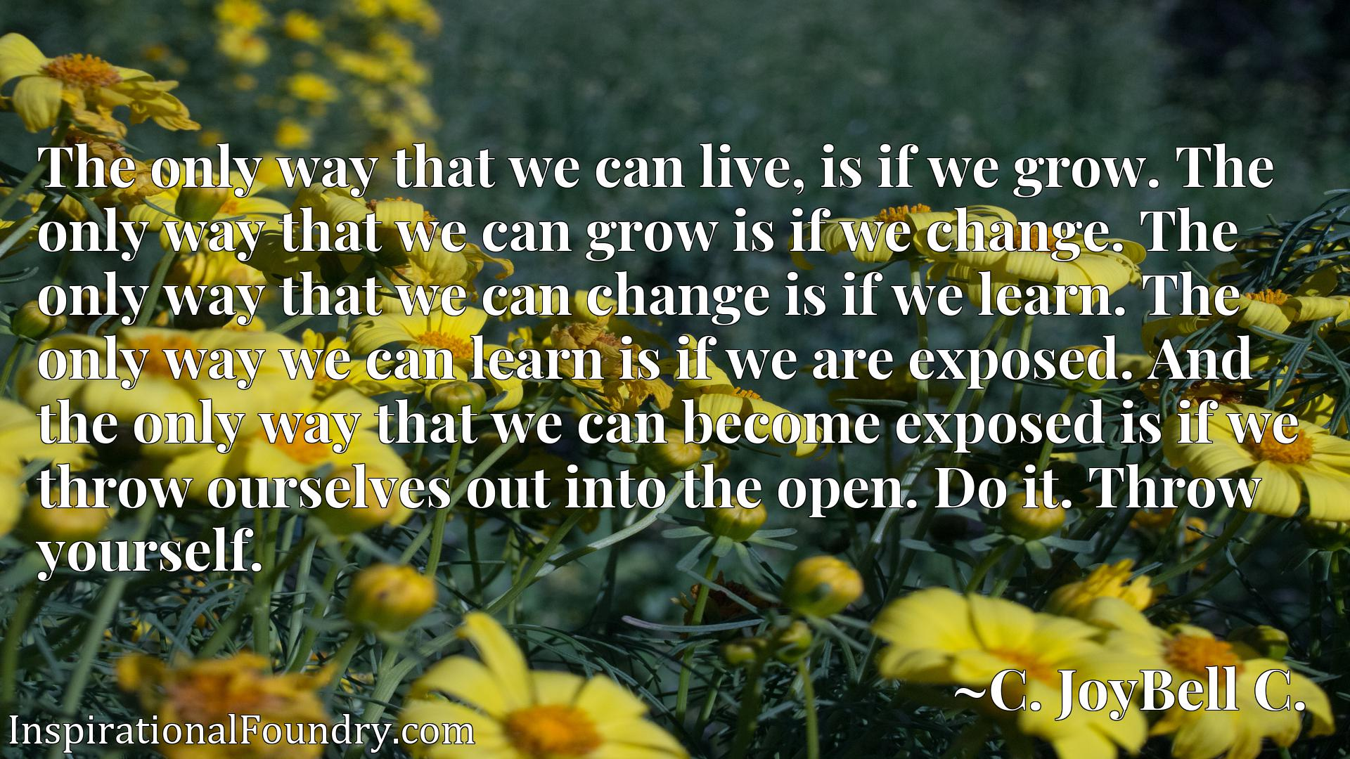 The only way that we can live, is if we grow. The only way that we can grow is if we change. The only way that we can change is if we learn. The only way we can learn is if we are exposed. And the only way that we can become exposed is if we throw ourselves out into the open. Do it. Throw yourself.