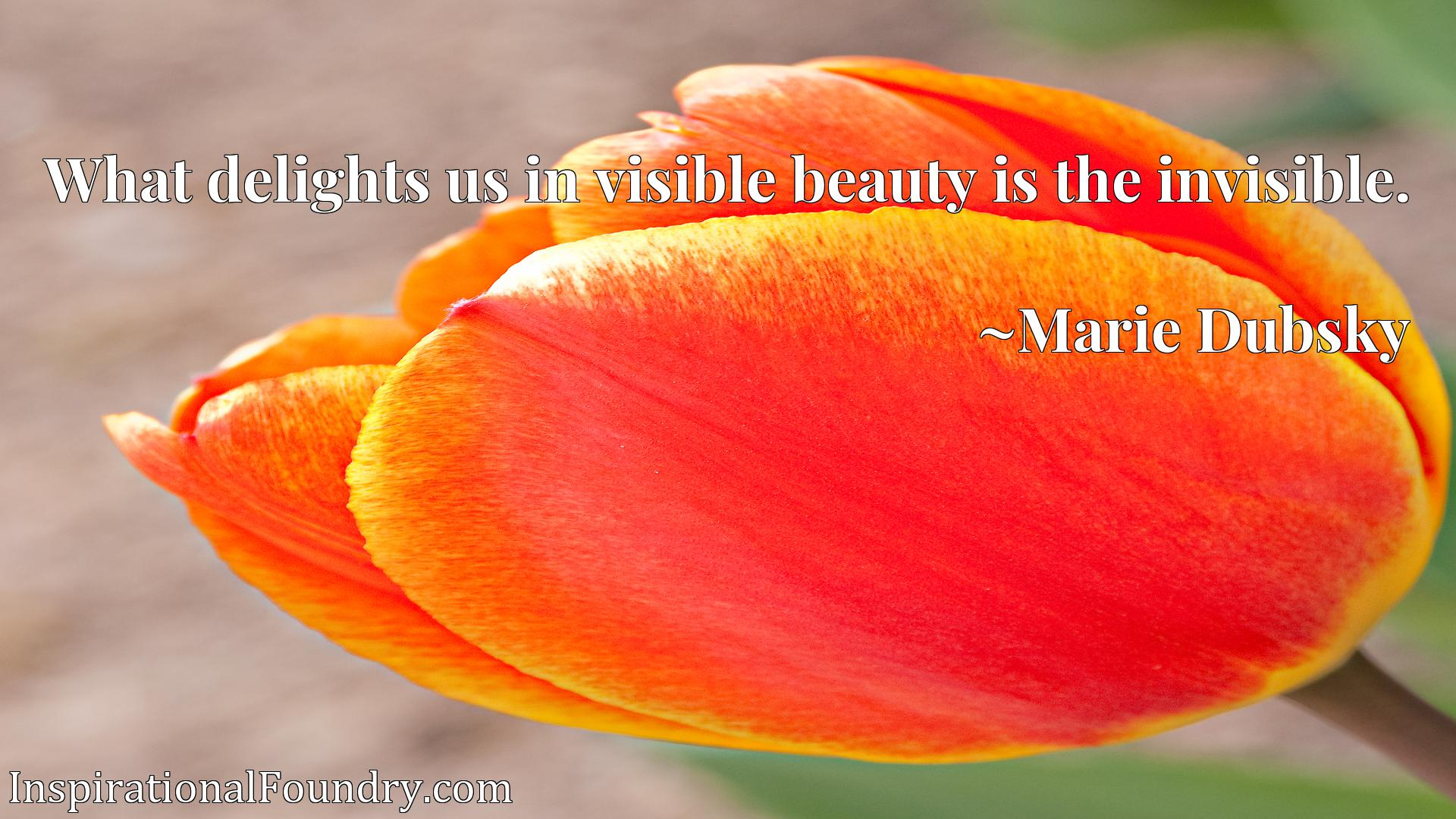 What delights us in visible beauty is the invisible.