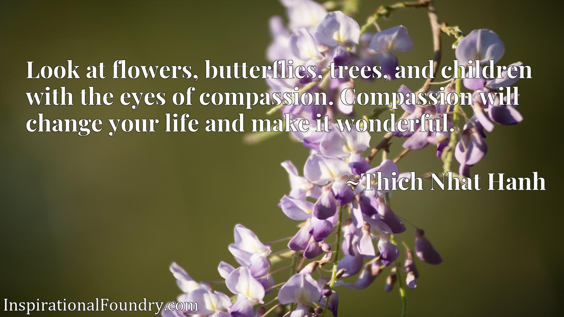 Look at flowers, butterflies, trees, and children with the eyes of compassion. Compassion will change your life and make it wonderful.