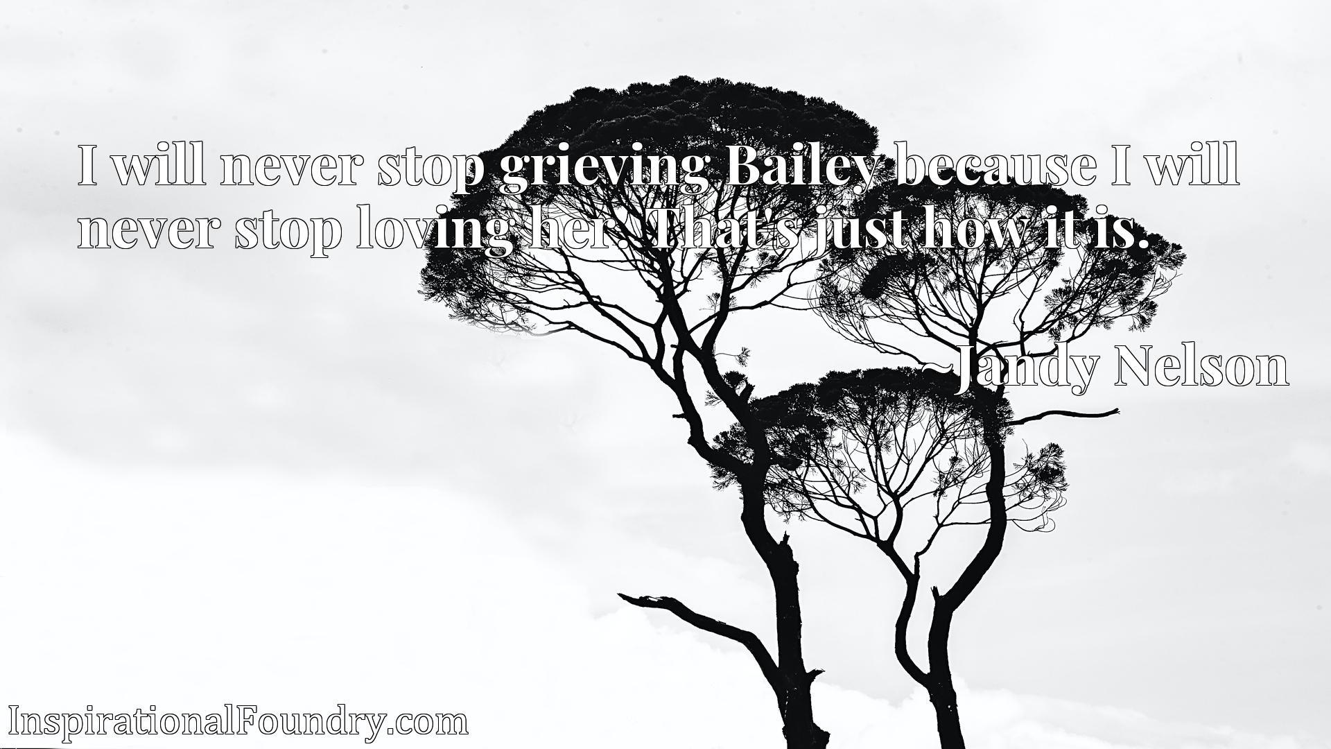 I will never stop grieving Bailey because I will never stop loving her. That's just how it is.