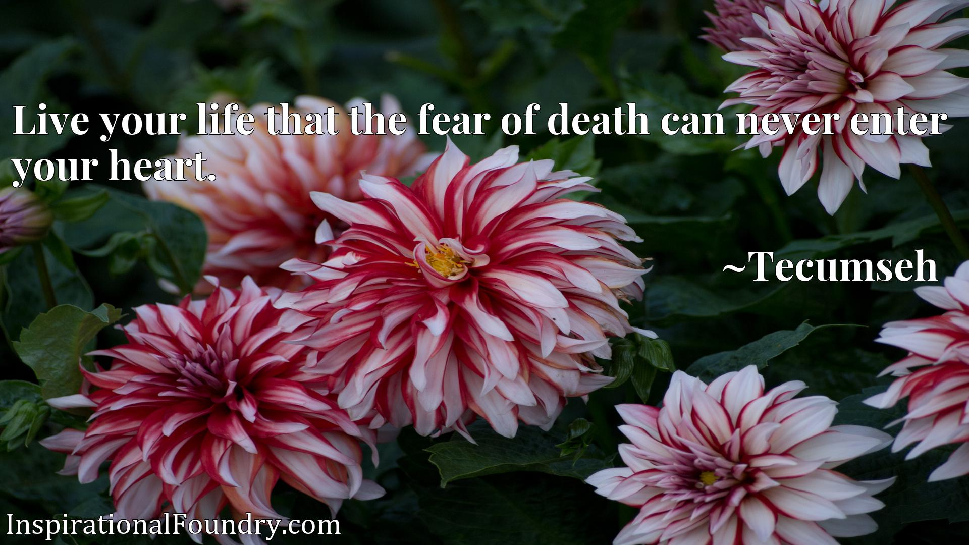 Quote Picture :Live your life that the fear of death can never enter your heart.