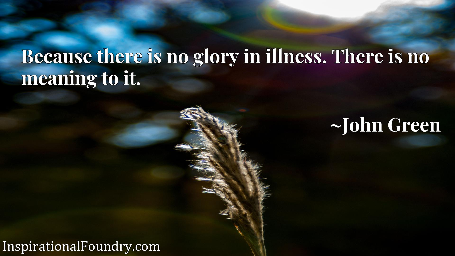 Quote Picture :Because there is no glory in illness. There is no meaning to it.