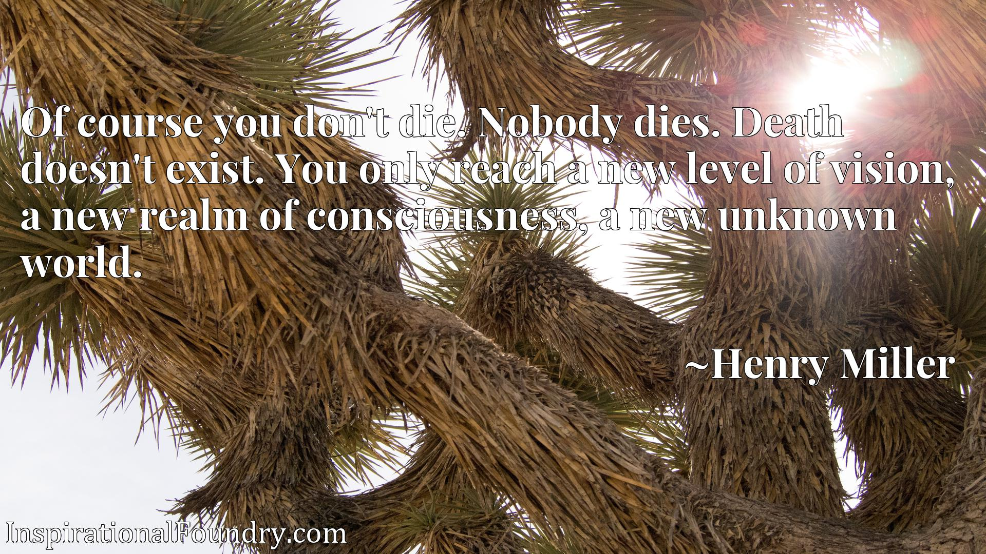 Of course you don't die. Nobody dies. Death doesn't exist. You only reach a new level of vision, a new realm of consciousness, a new unknown world.