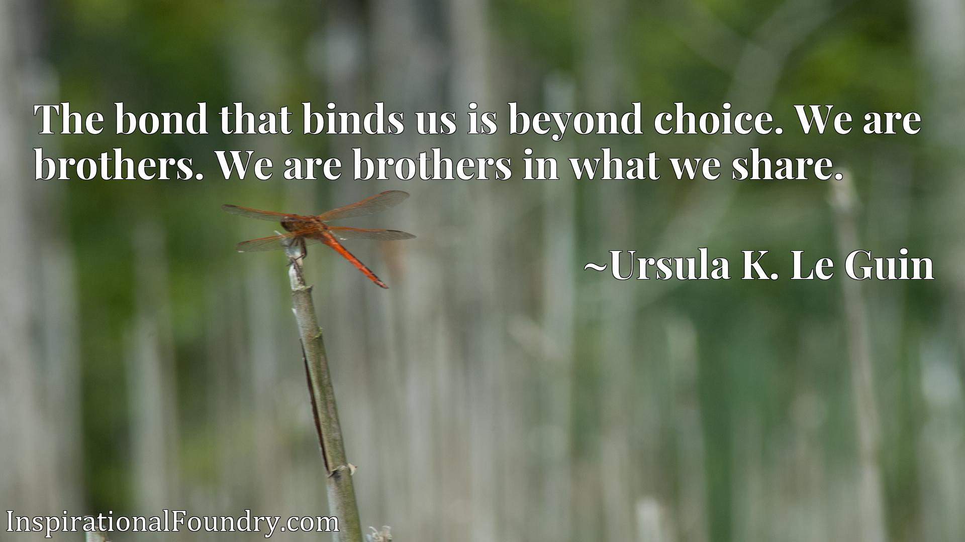 The bond that binds us is beyond choice. We are brothers. We are brothers in what we share.