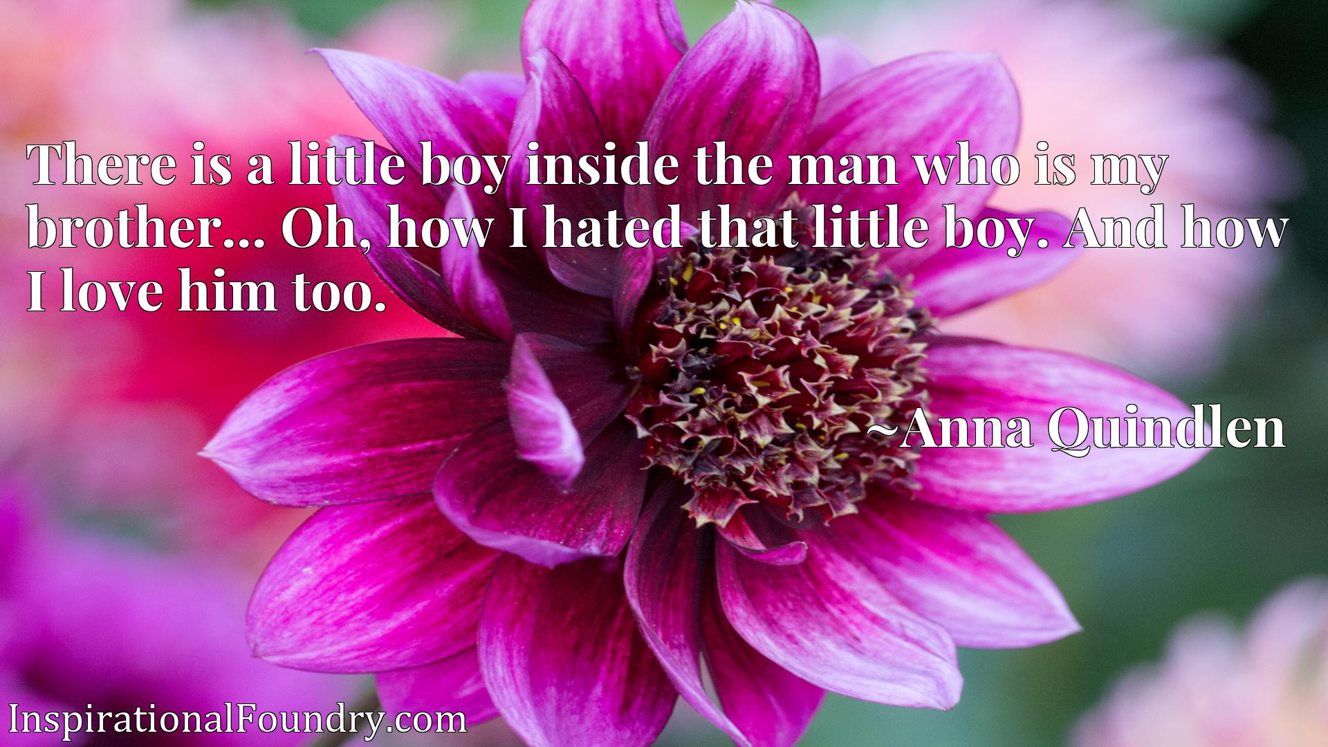 There is a little boy inside the man who is my brother... Oh, how I hated that little boy. And how I love him too.