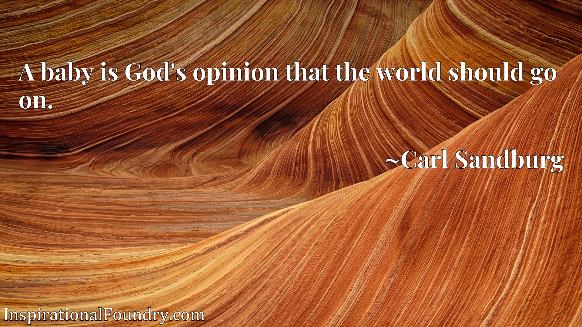 Quote Picture :A baby is God's opinion that the world should go on.