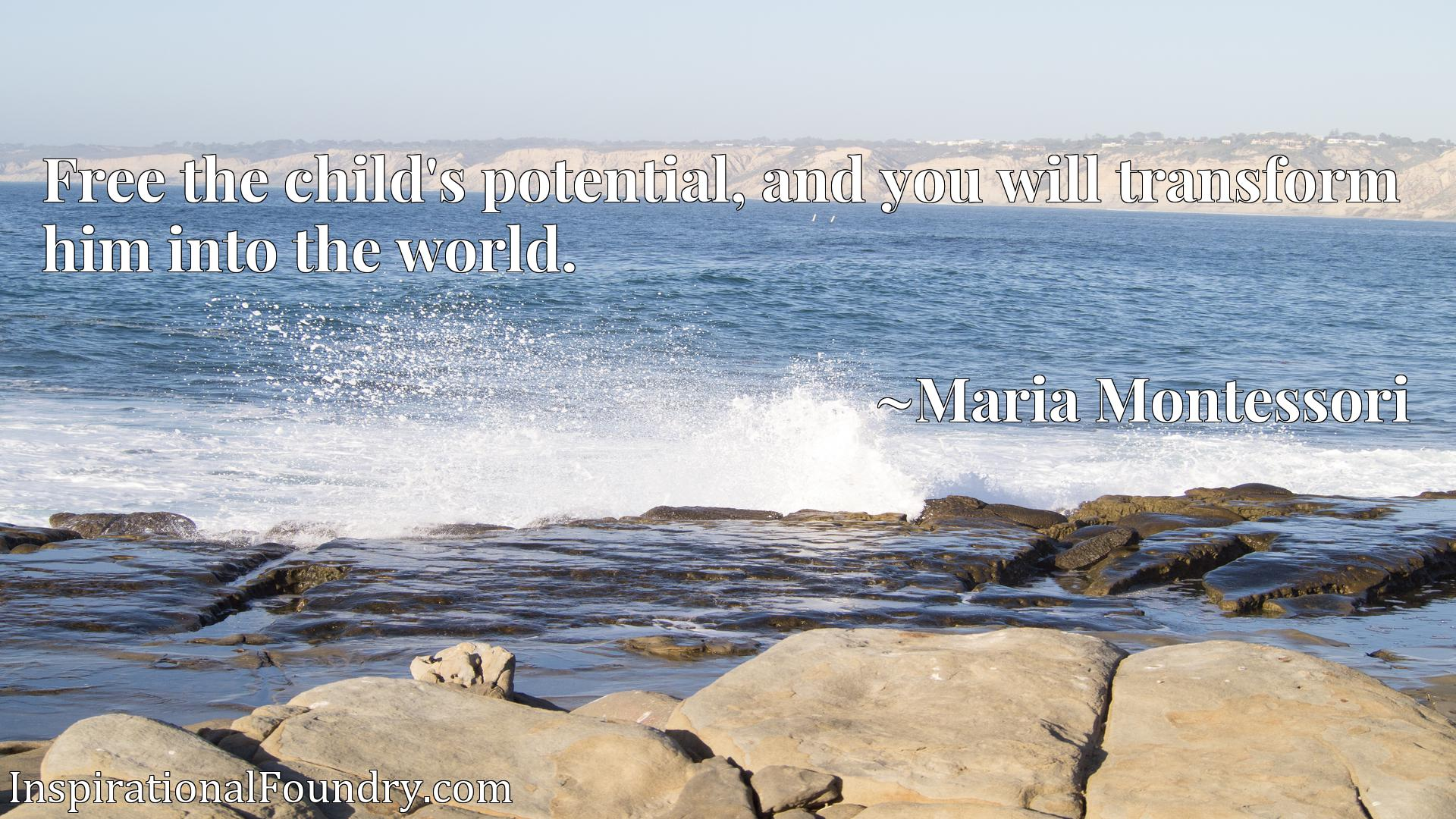 Quote Picture :Free the child's potential, and you will transform him into the world.