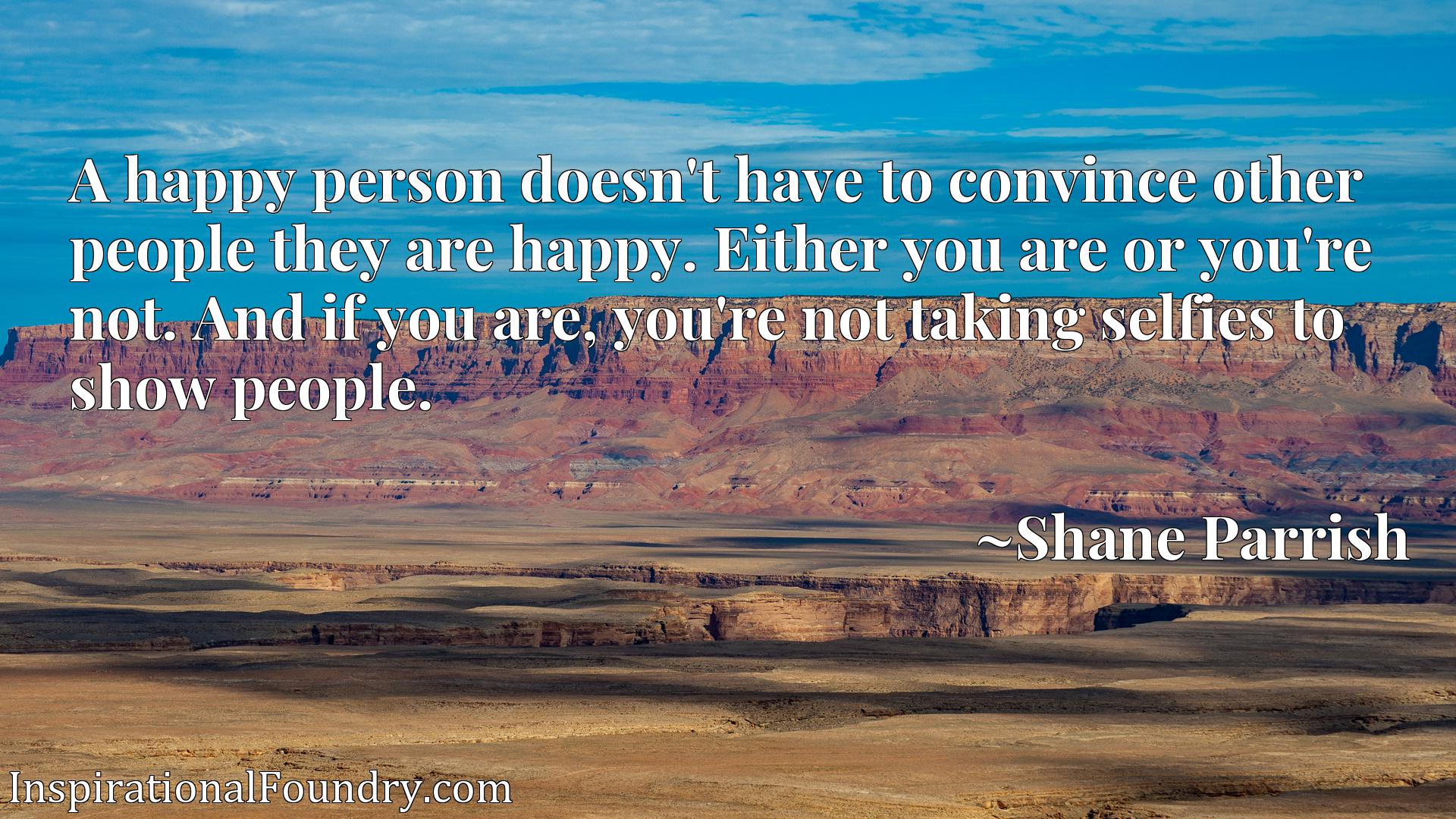 A happy person doesn't have to convince other people they are happy. Either you are or you're not. And if you are, you're not taking selfies to show people.