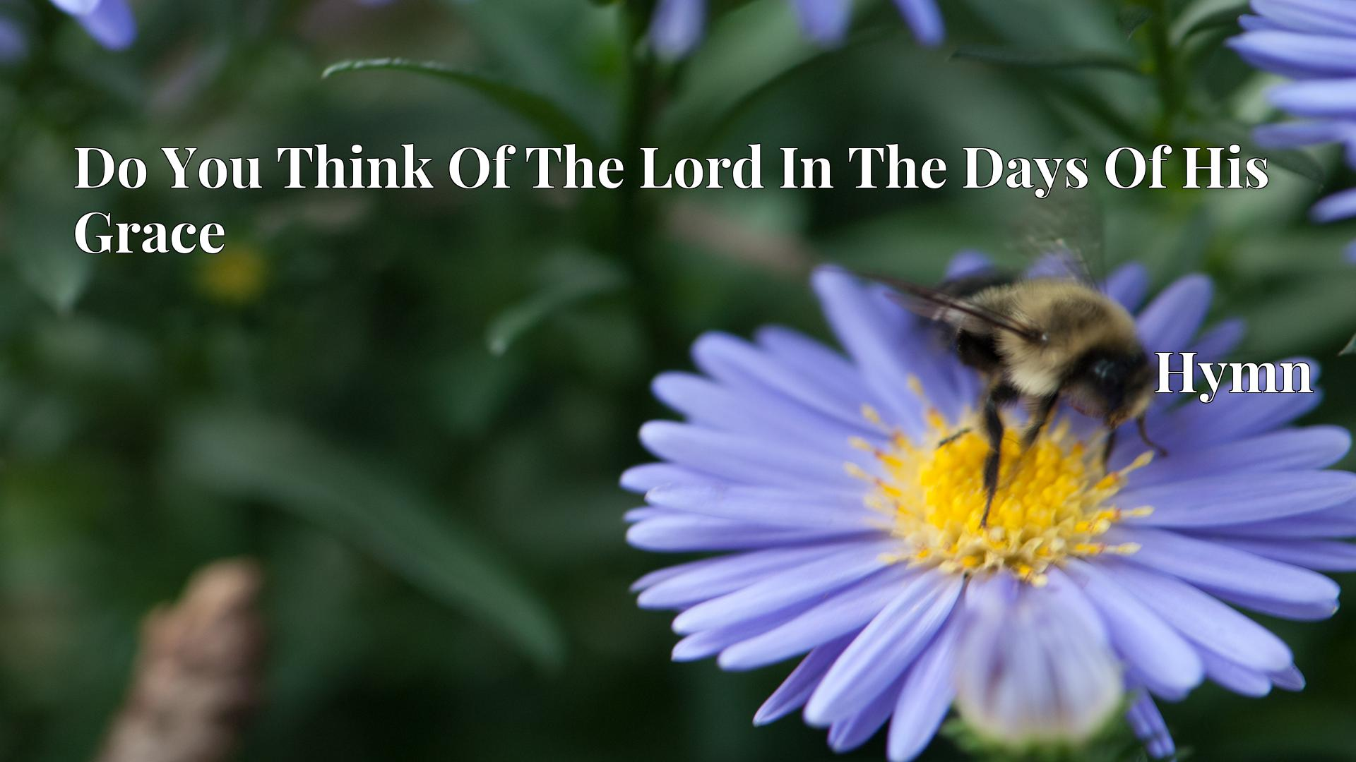 Do You Think Of The Lord In The Days Of His Grace - Hymn
