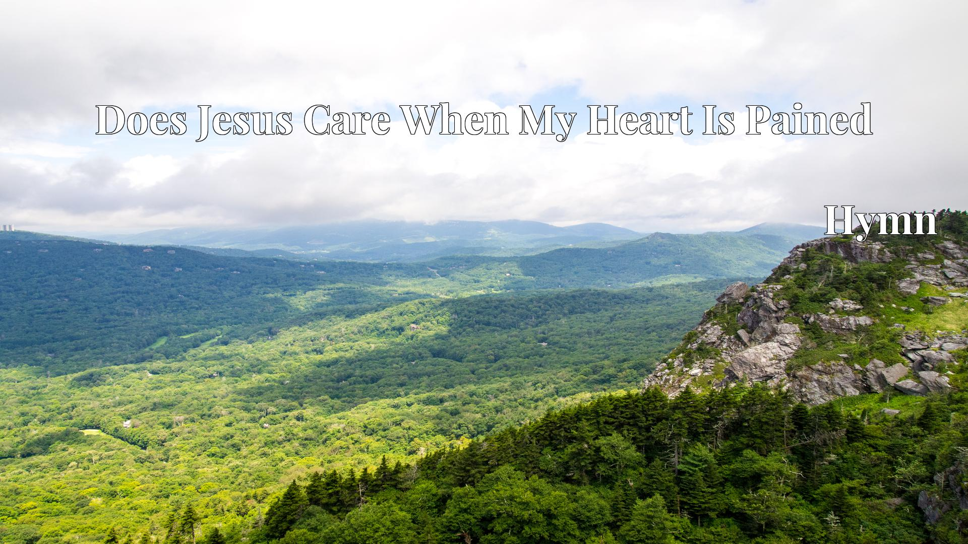 Does Jesus Care When My Heart Is Pained - Hymn