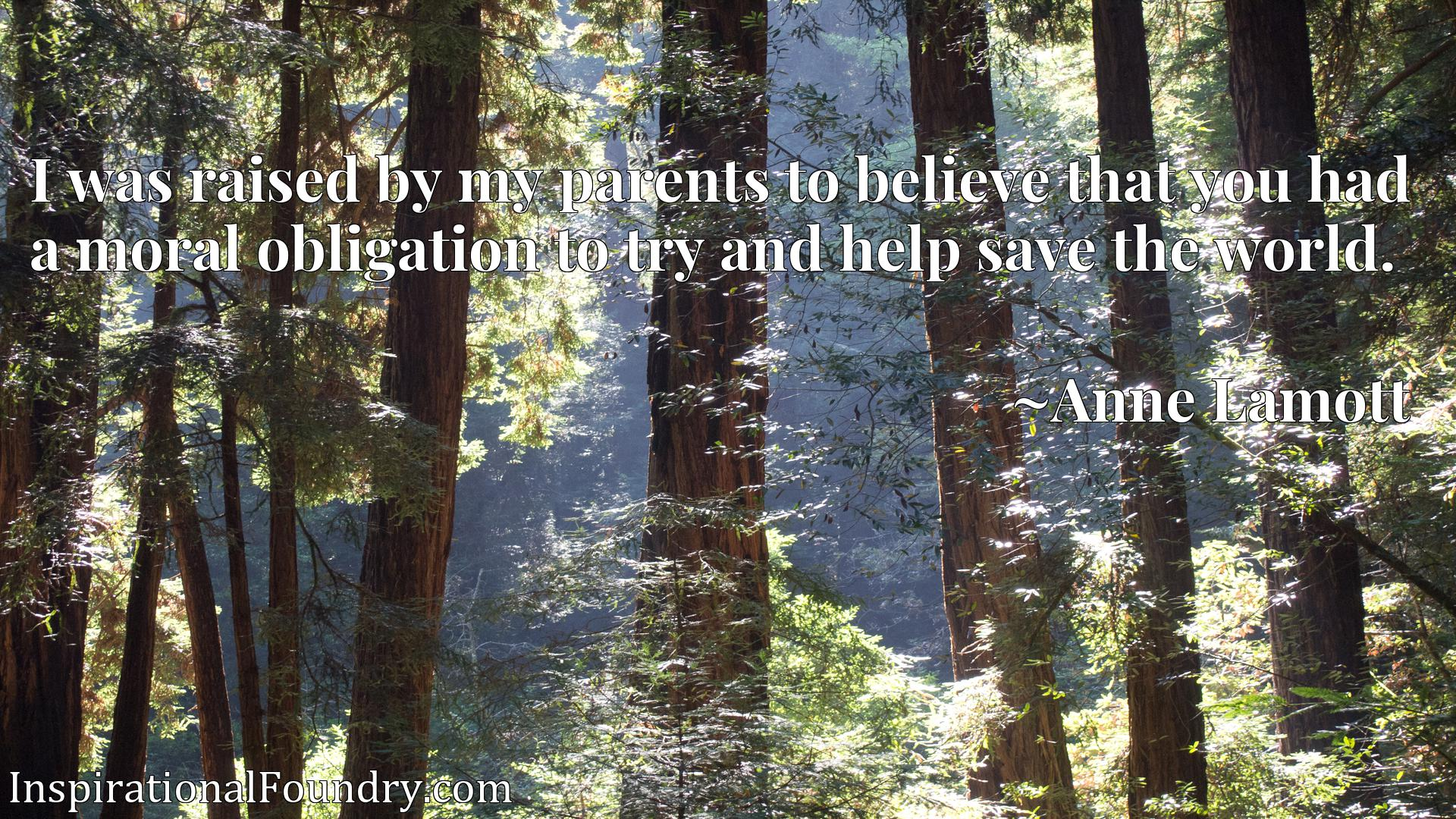 I was raised by my parents to believe that you had a moral obligation to try and help save the world.