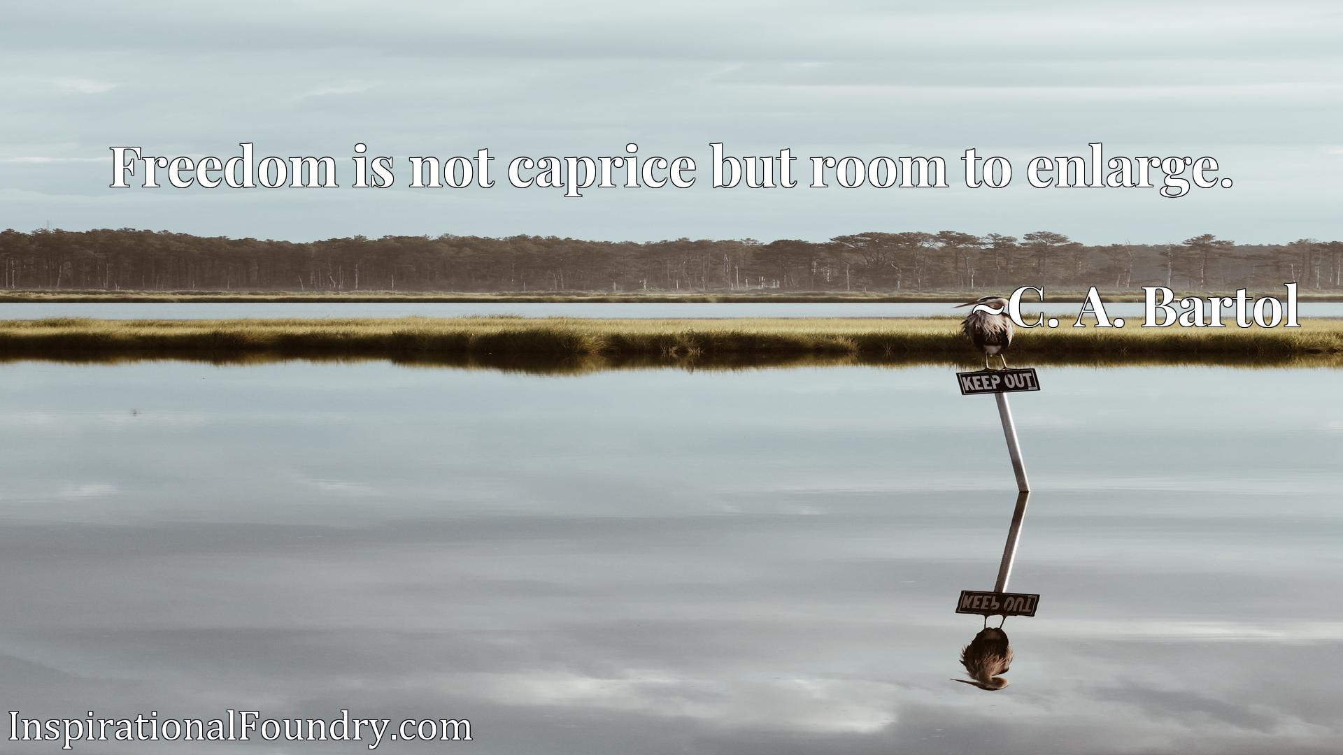 Freedom is not caprice but room to enlarge.