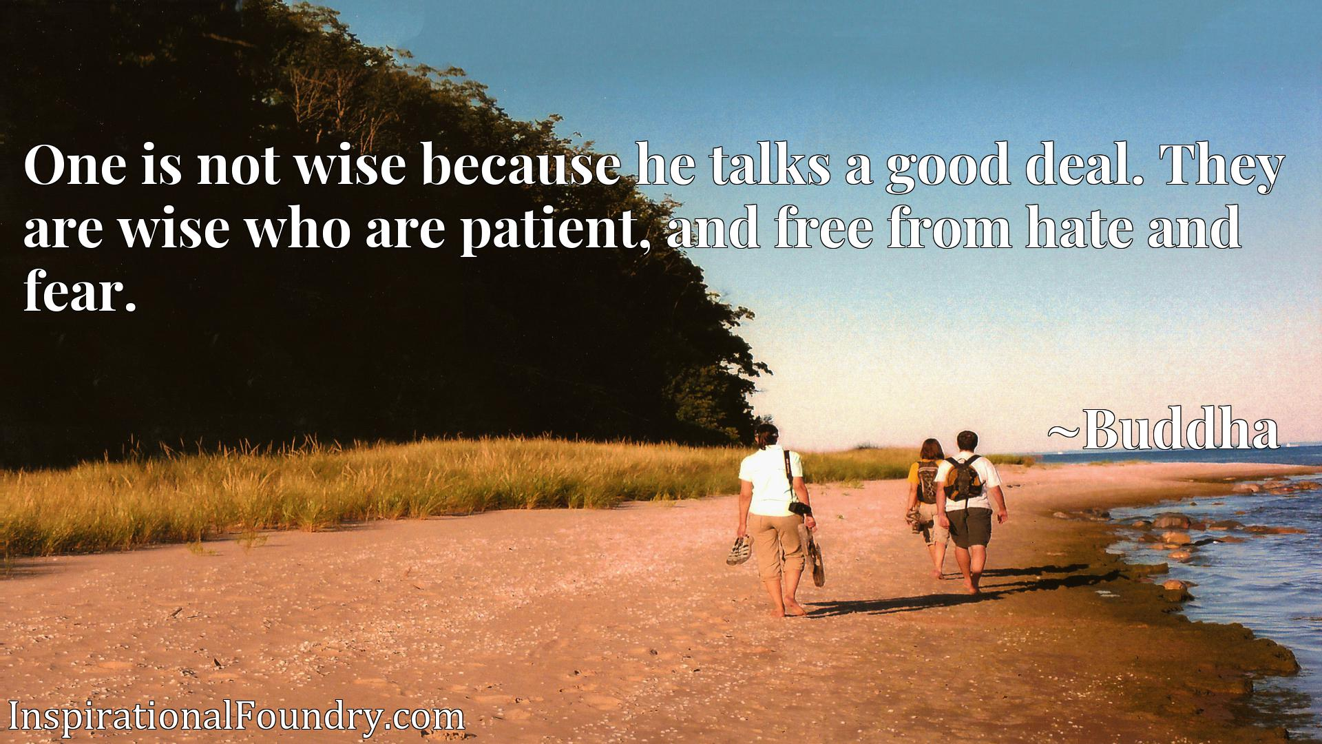 Quote Picture :One is not wise because he talks a good deal. They are wise who are patient, and free from hate and fear.