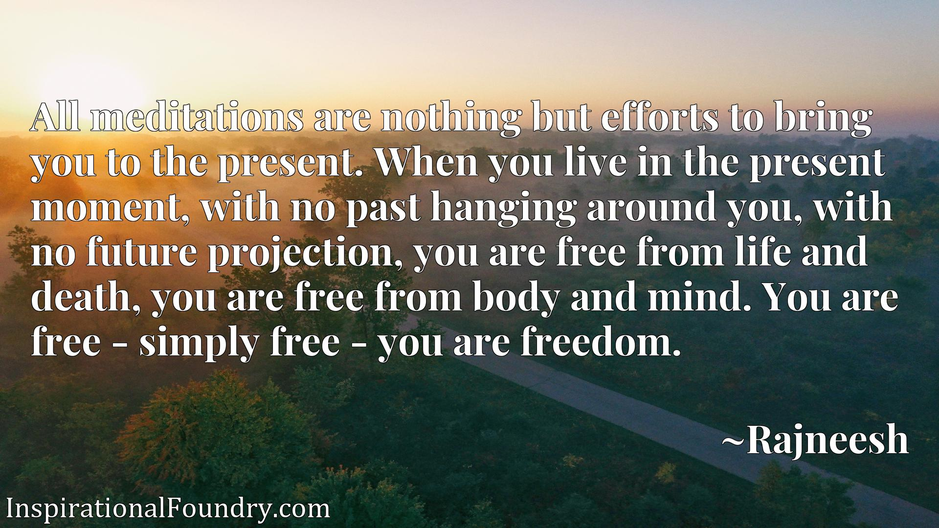 Quote Picture :All meditations are nothing but efforts to bring you to the present. When you live in the present moment, with no past hanging around you, with no future projection, you are free from life and death, you are free from body and mind. You are free - simply free - you are freedom.