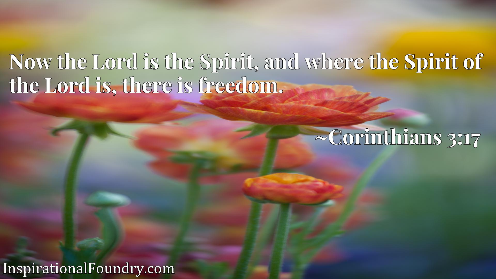 Quote Picture :Now the Lord is the Spirit, and where the Spirit of the Lord is, there is freedom.