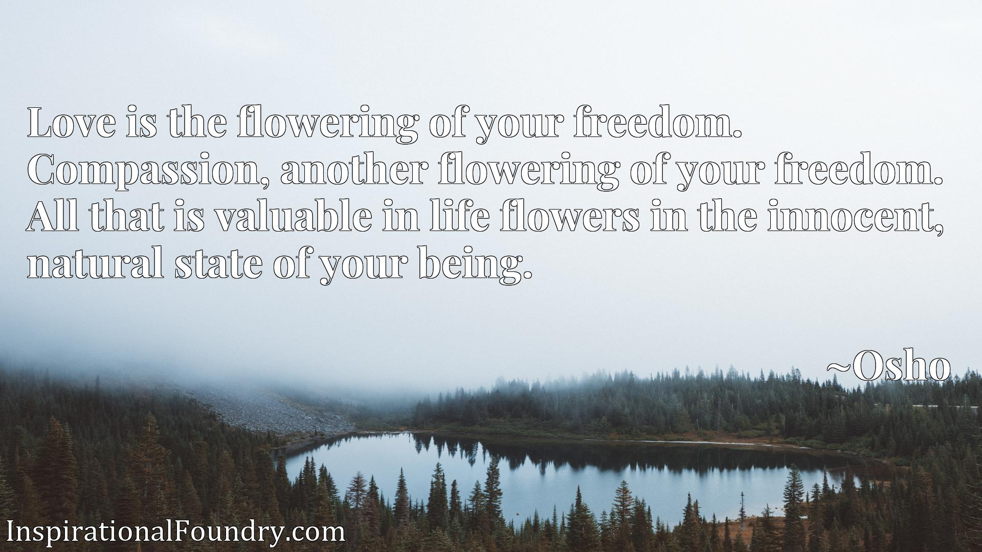 Quote Picture :Love is the flowering of your freedom. Compassion, another flowering of your freedom. All that is valuable in life flowers in the innocent, natural state of your being.