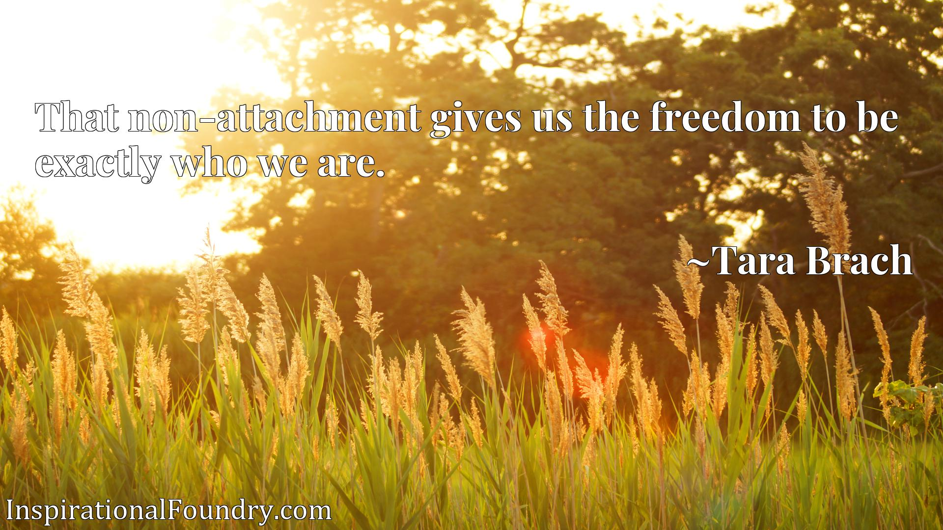 Quote Picture :That non-attachment gives us the freedom to be exactly who we are.