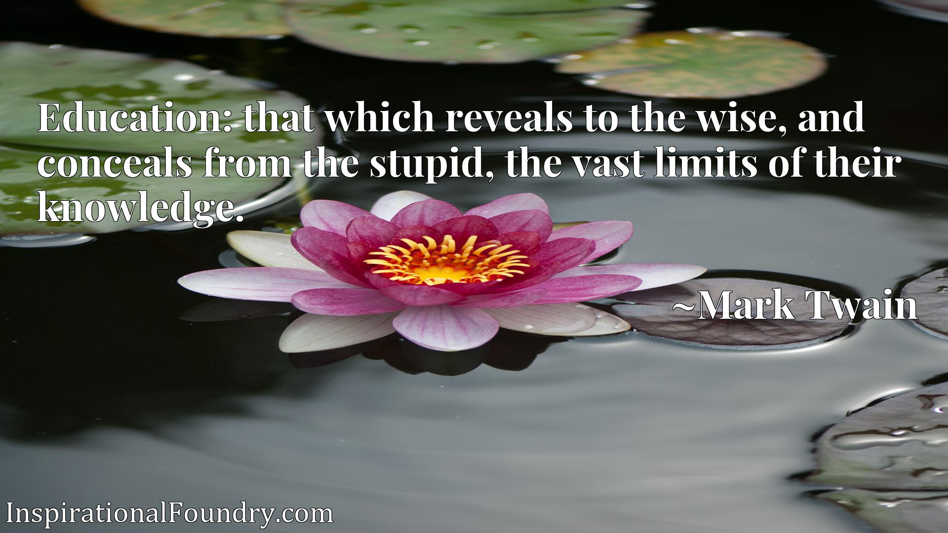 Education: that which reveals to the wise, and conceals from the stupid, the vast limits of their knowledge.