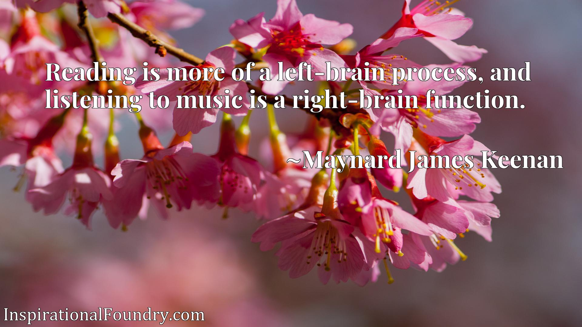 Reading is more of a left-brain process, and listening to music is a right-brain function.