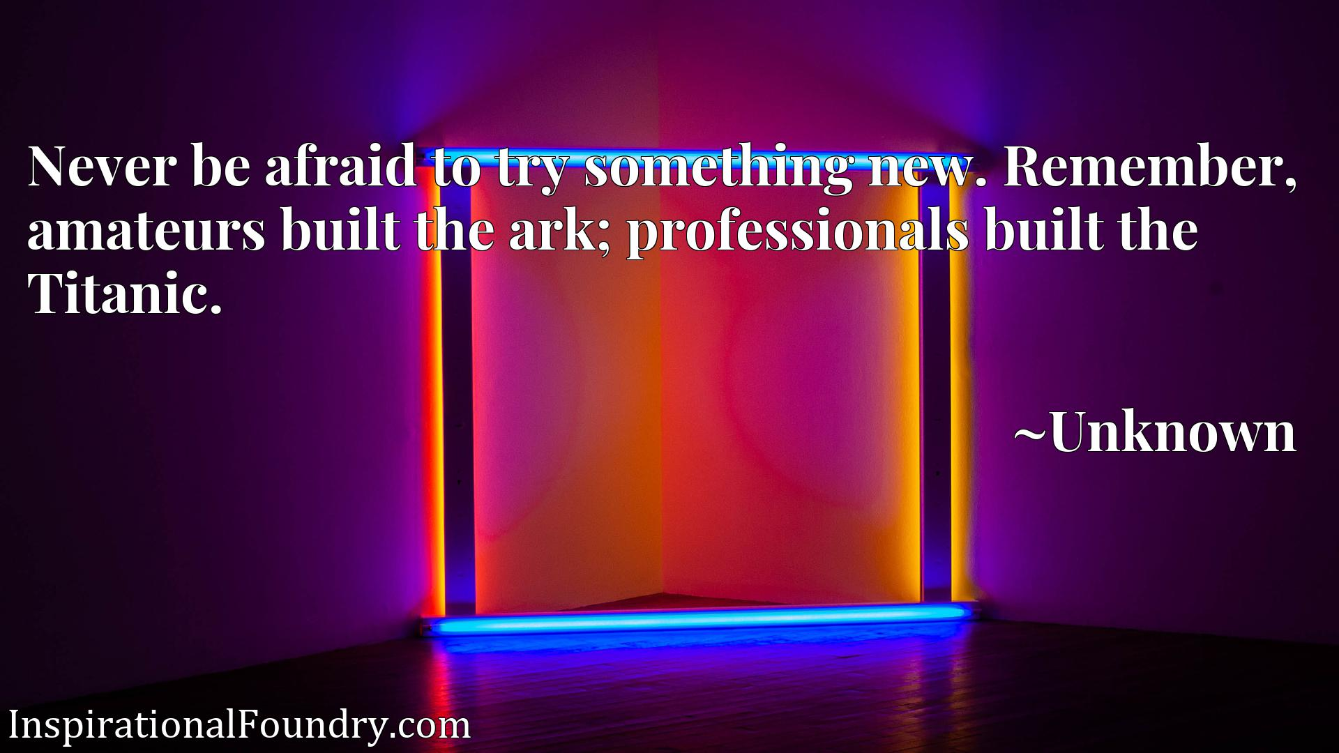 Never be afraid to try something new. Remember, amateurs built the ark; professionals built the Titanic.