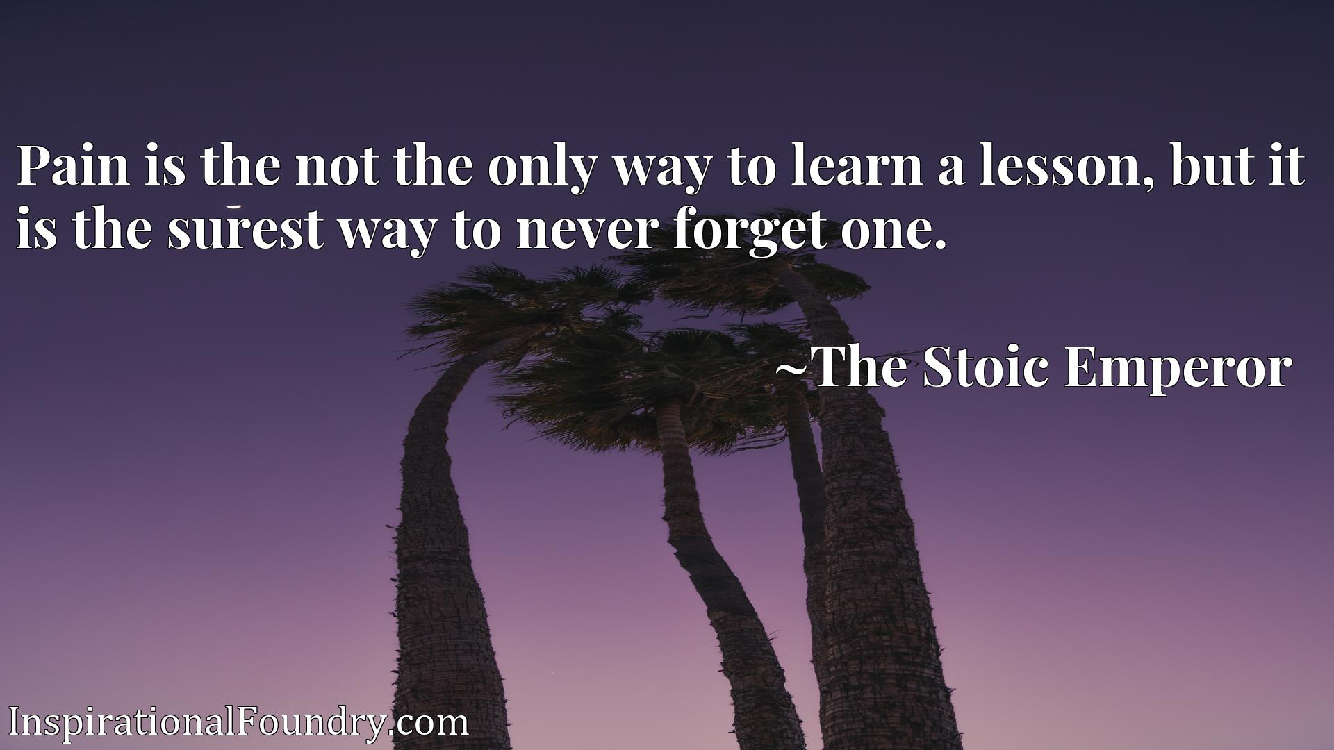 Pain is the not the only way to learn a lesson, but it is the surest way to never forget one.