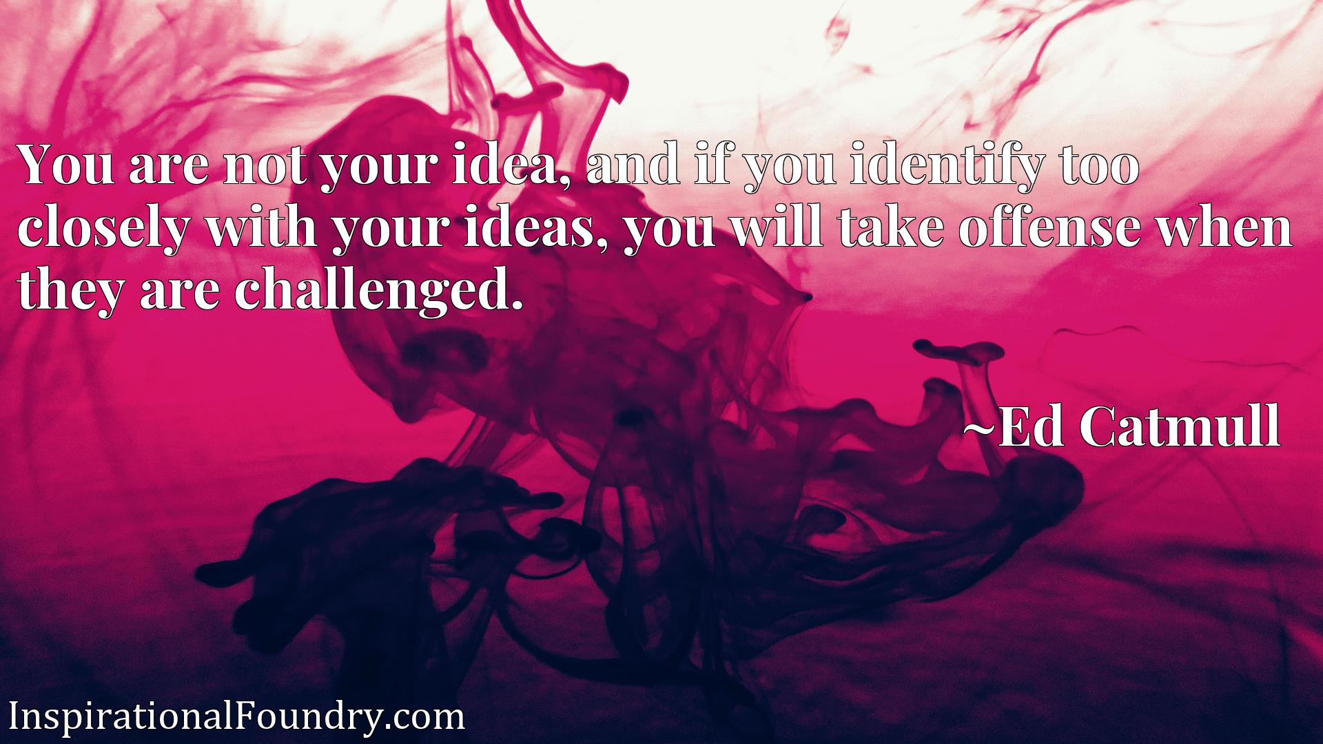You are not your idea, and if you identify too closely with your ideas, you will take offense when they are challenged.