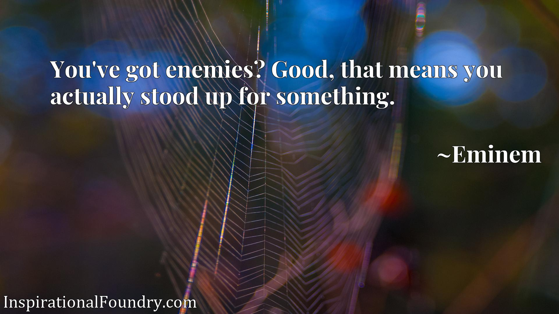 You've got enemies? Good, that means you actually stood up for something.