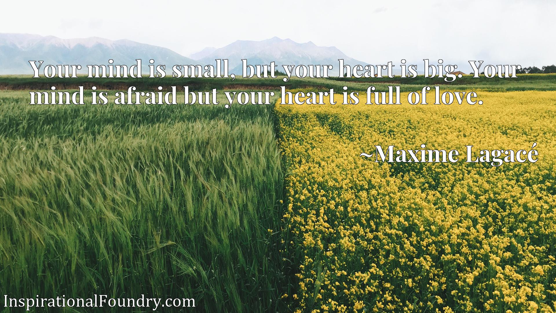 Your mind is small, but your heart is big. Your mind is afraid but your heart is full of love.