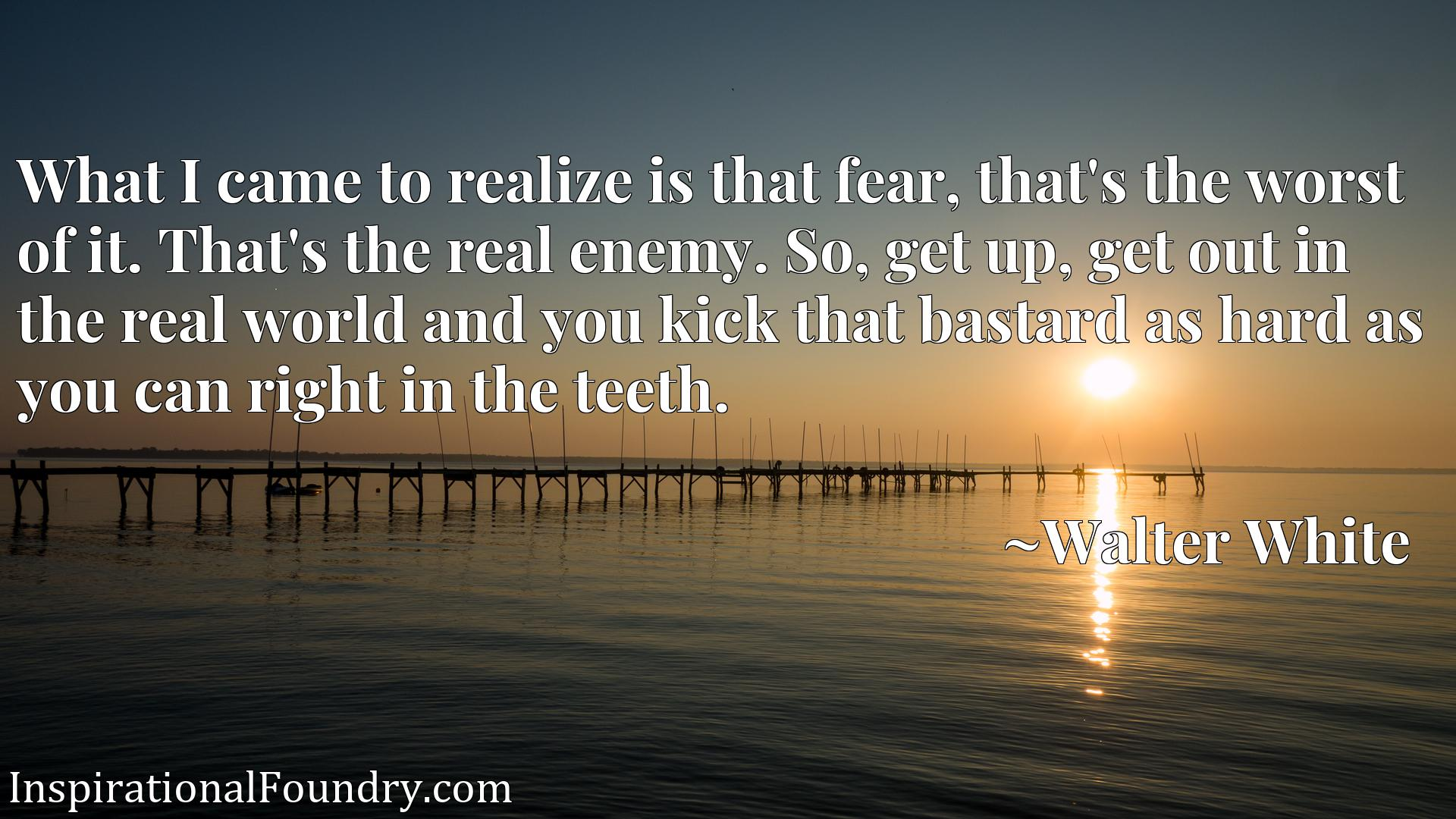 What I came to realize is that fear, that's the worst of it. That's the real enemy. So, get up, get out in the real world and you kick that bastard as hard as you can right in the teeth.