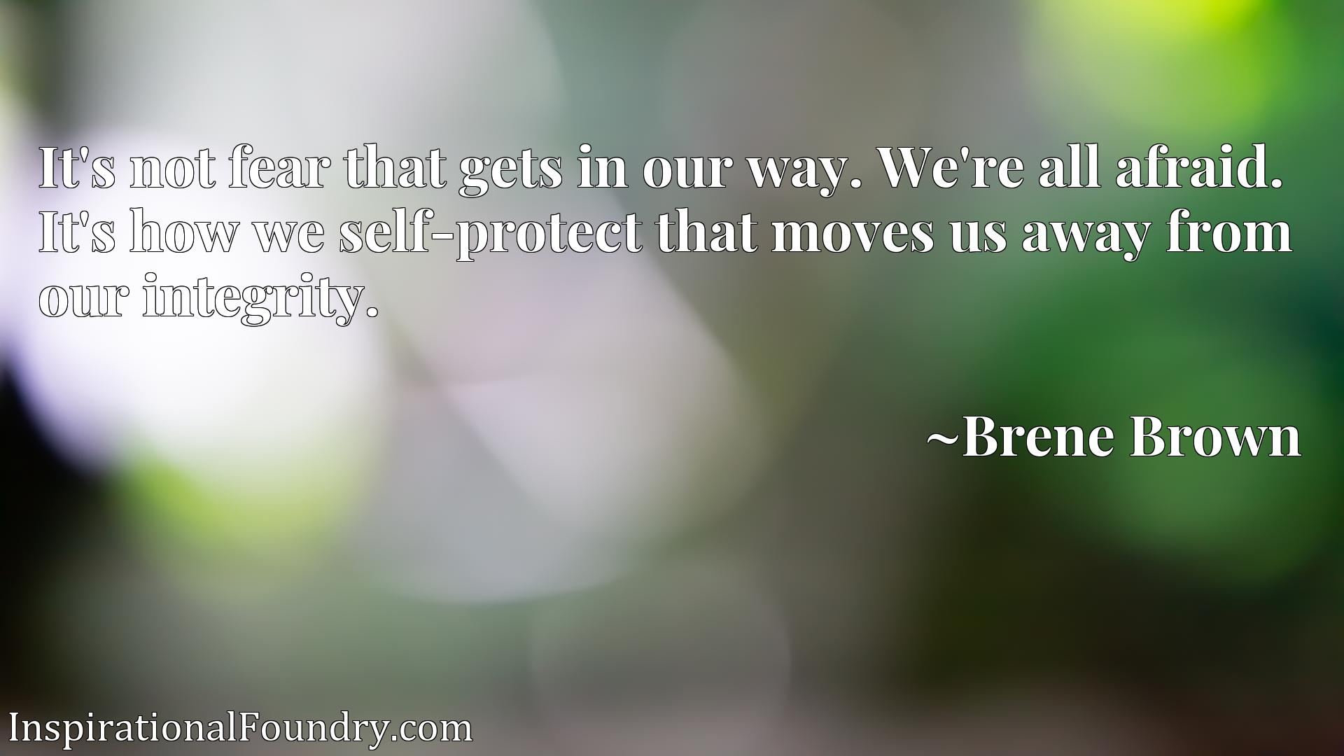 It's not fear that gets in our way. We're all afraid. It's how we self-protect that moves us away from our integrity.