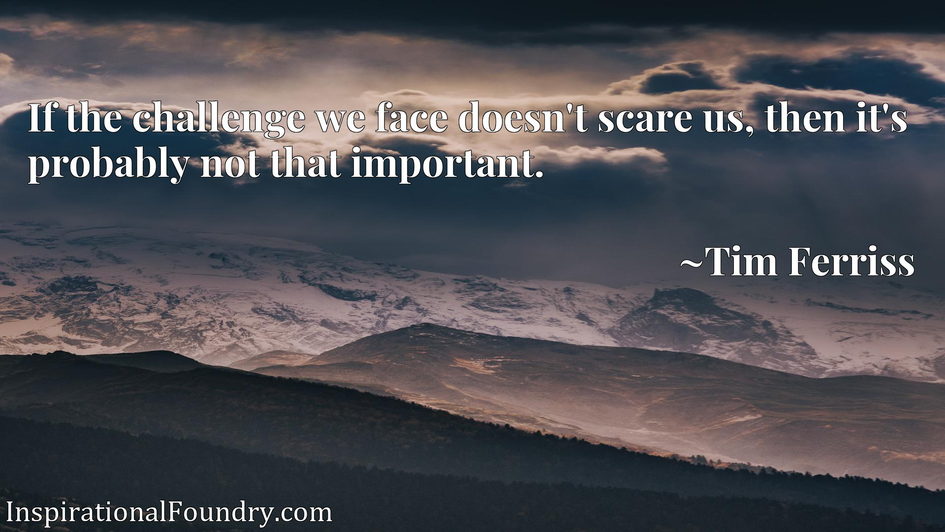 If the challenge we face doesn't scare us, then it's probably not that important.
