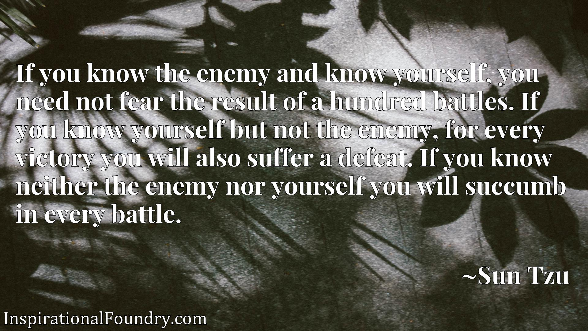 If you know the enemy and know yourself, you need not fear the result of a hundred battles. If you know yourself but not the enemy, for every victory you will also suffer a defeat. If you know neither the enemy nor yourself you will succumb in every battle.