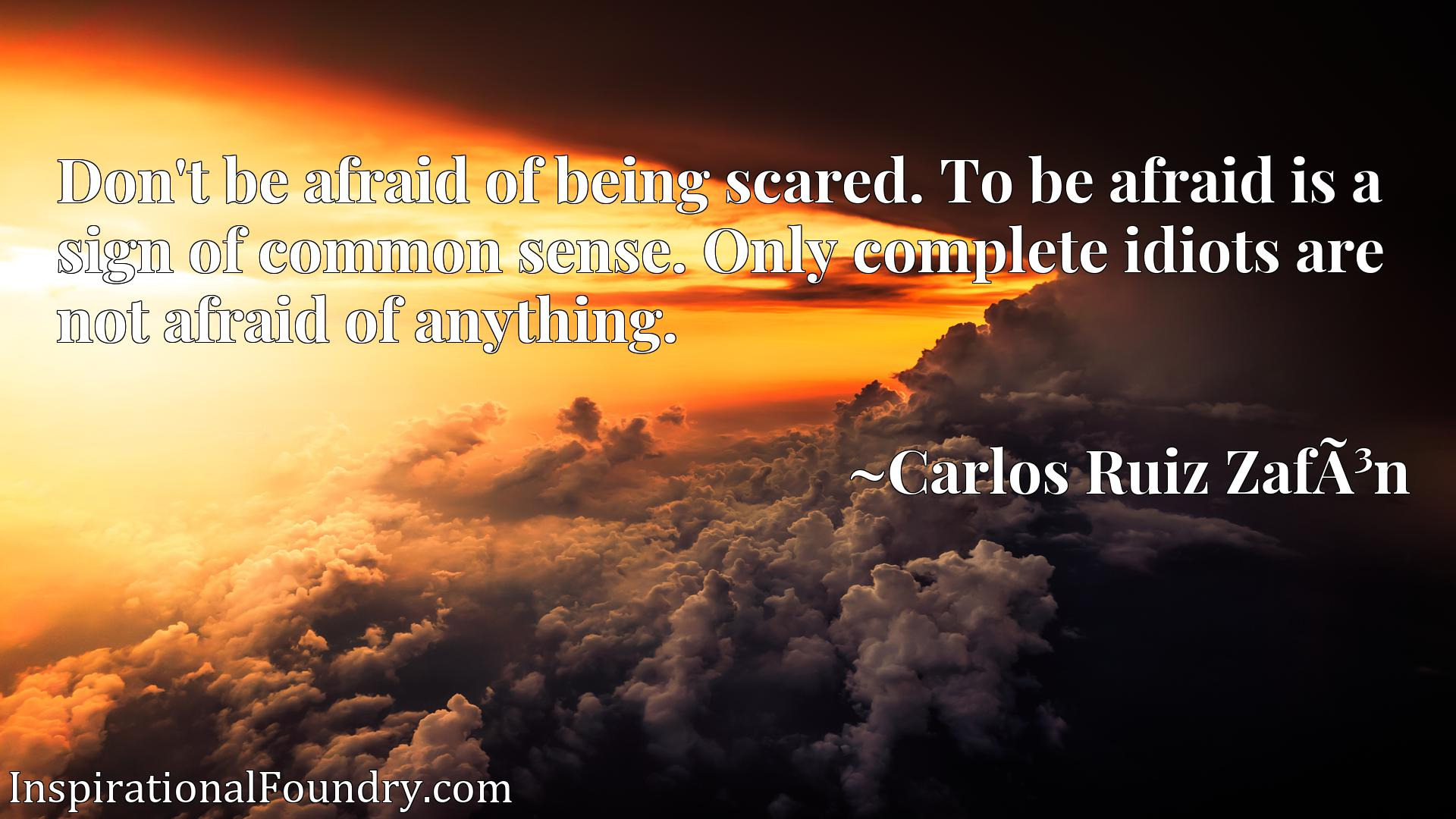 Don't be afraid of being scared. To be afraid is a sign of common sense. Only complete idiots are not afraid of anything.
