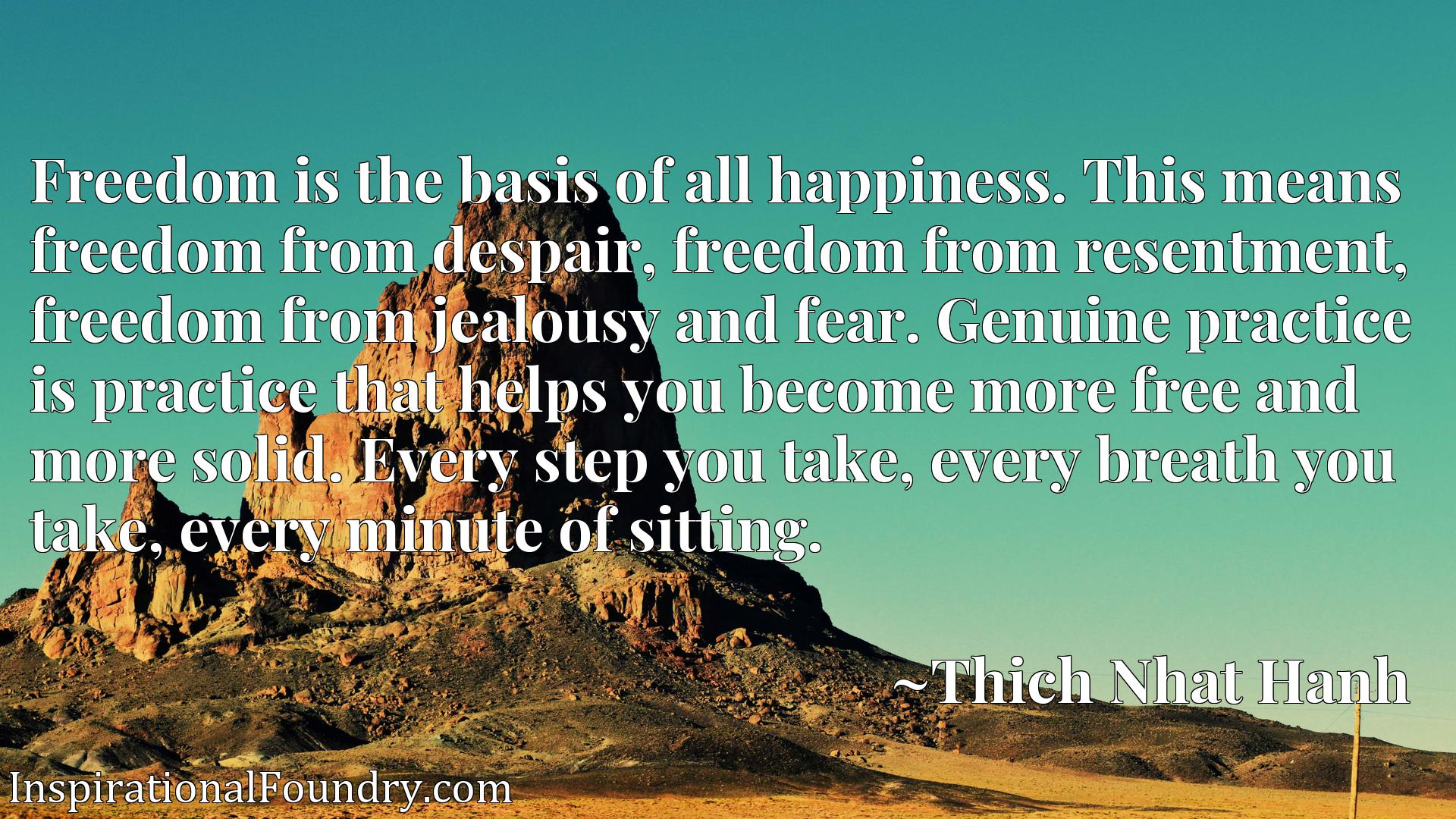 Freedom is the basis of all happiness. This means freedom from despair, freedom from resentment, freedom from jealousy and fear. Genuine practice is practice that helps you become more free and more solid. Every step you take, every breath you take, every minute of sitting.