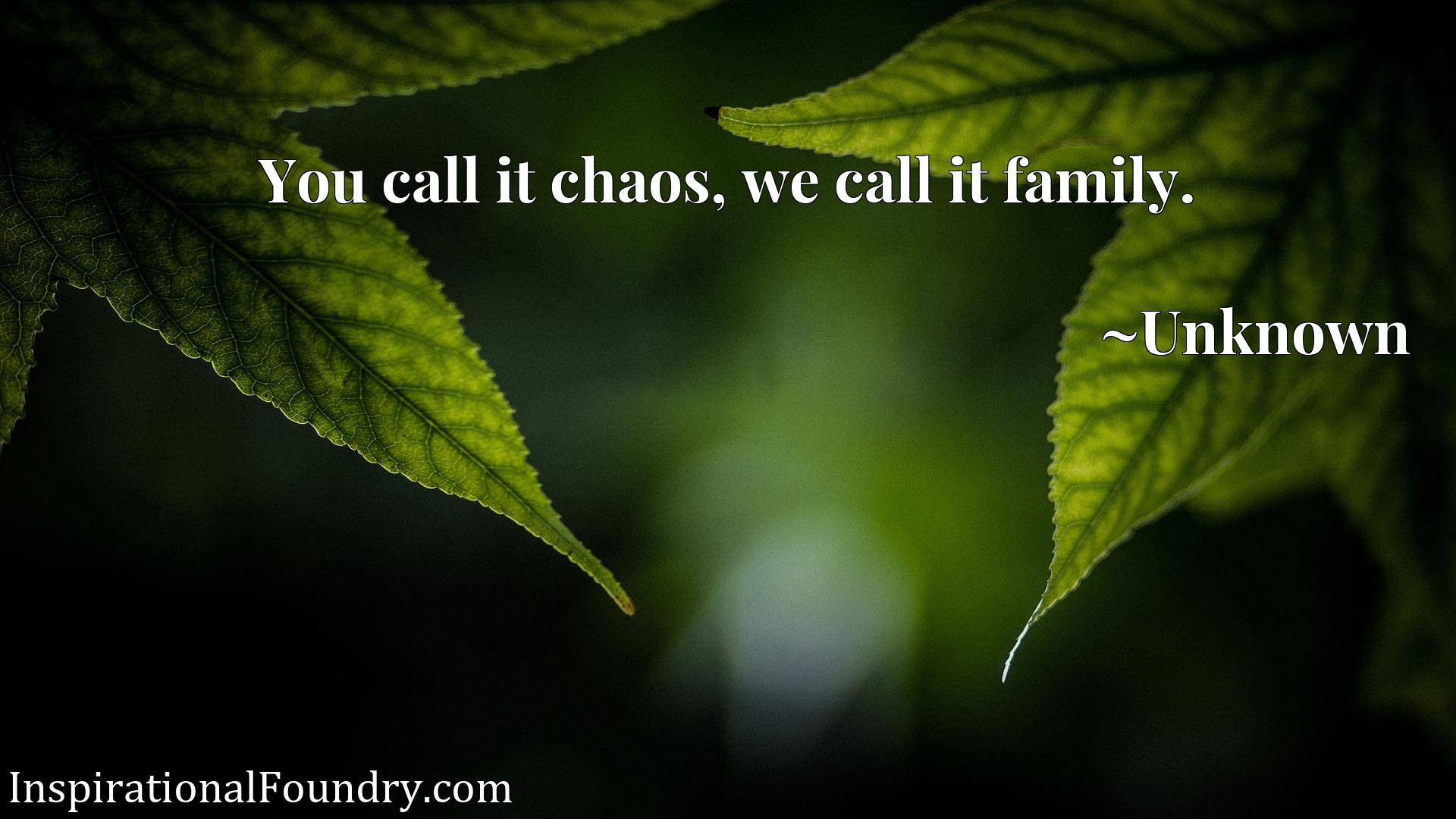 You call it chaos, we call it family.
