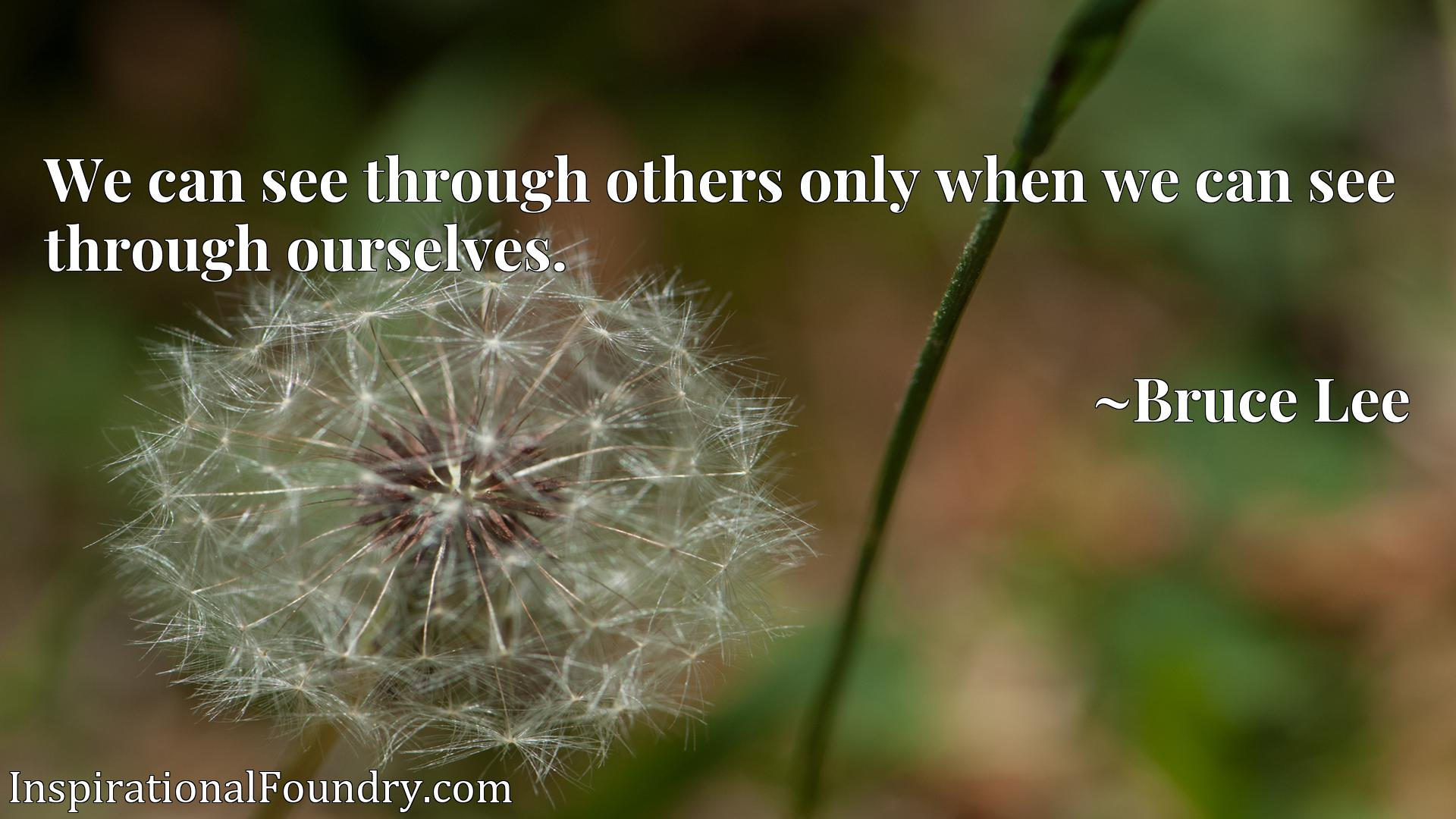 We can see through others only when we can see through ourselves.