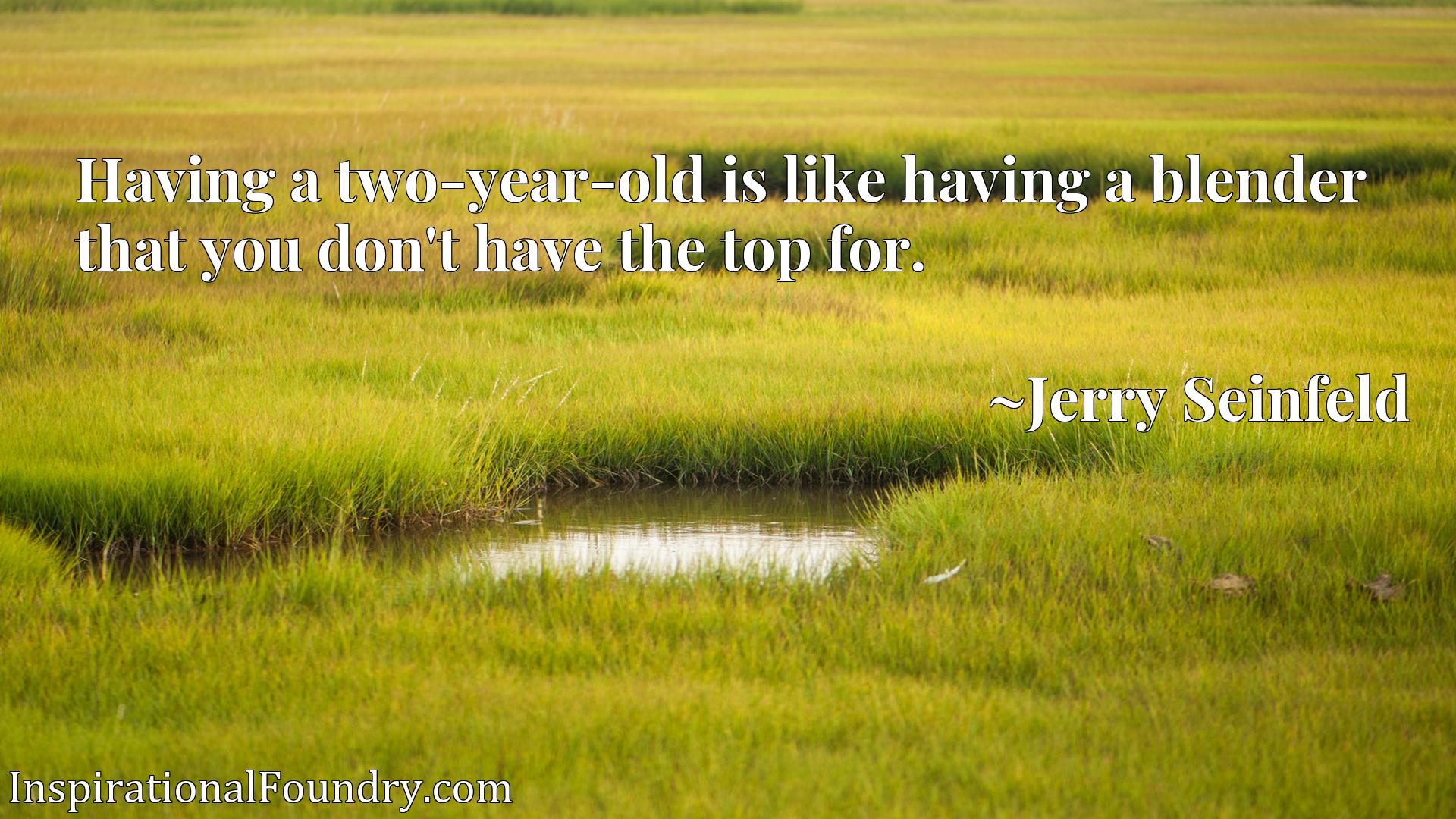 Having a two-year-old is like having a blender that you don't have the top for.