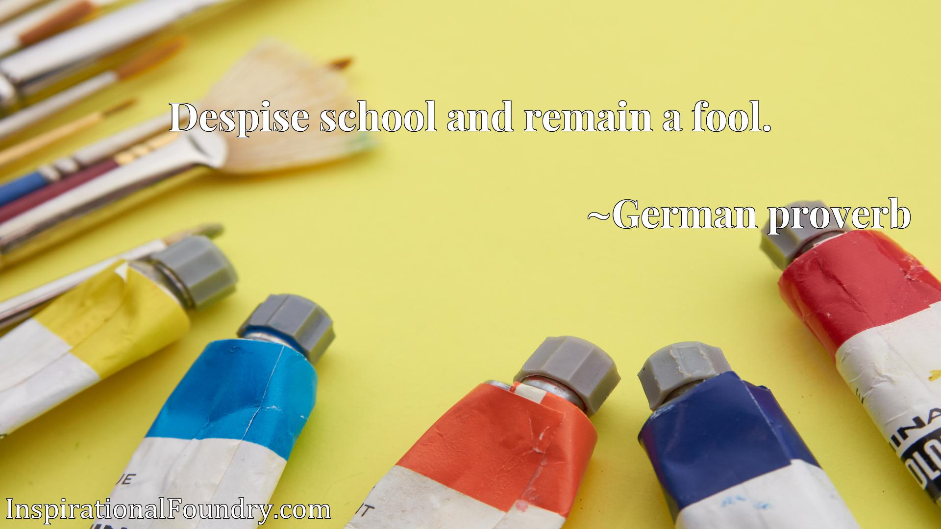 Quote Picture :Despise school and remain a fool.