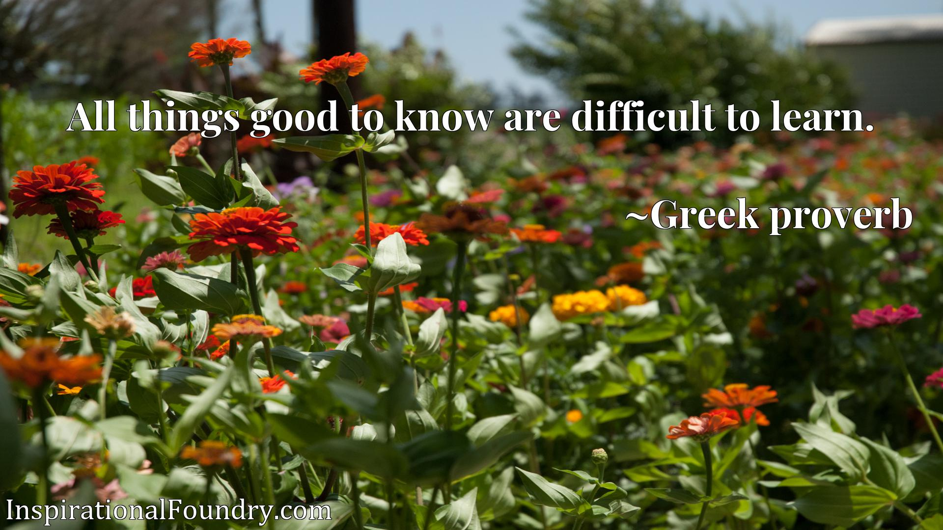 Quote Picture :All things good to know are difficult to learn.