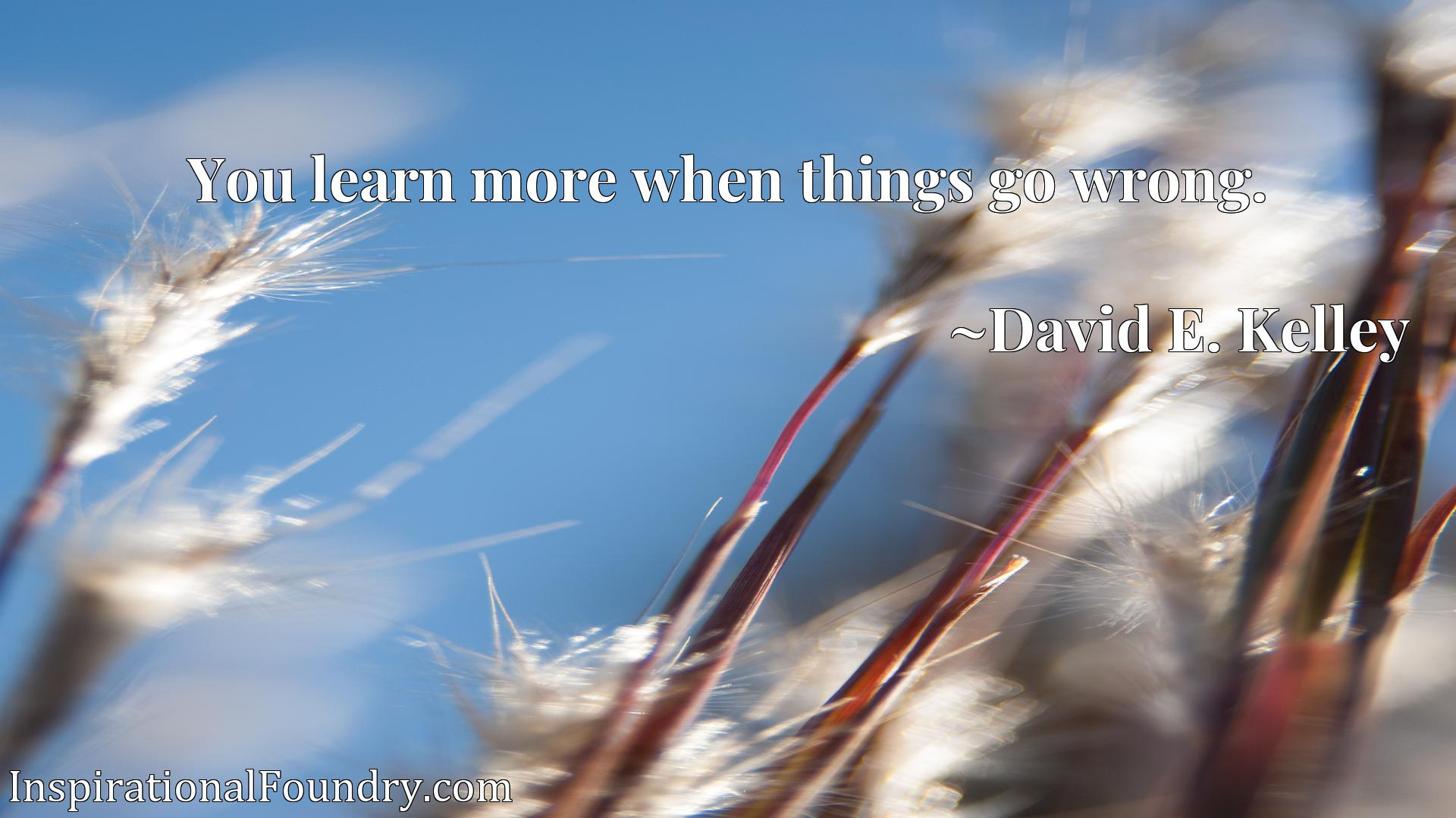 Quote Picture :You learn more when things go wrong.