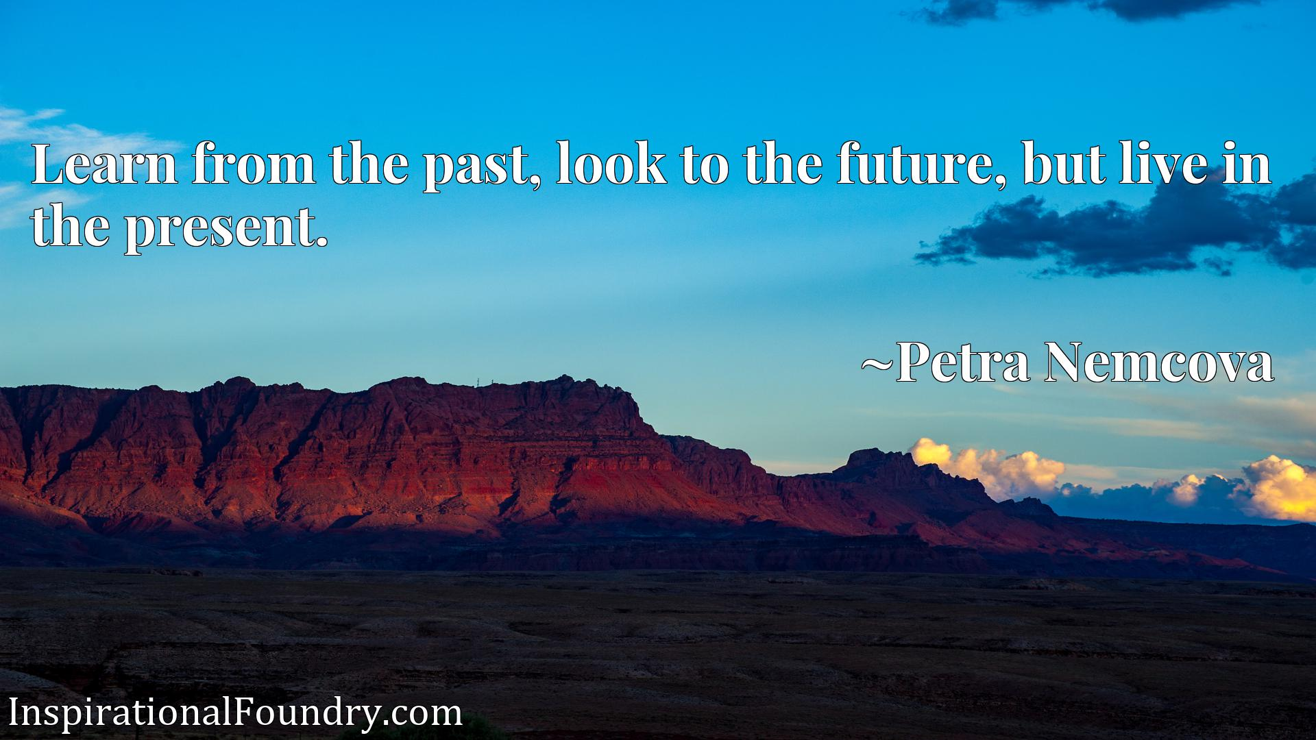Quote Picture :Learn from the past, look to the future, but live in the present.