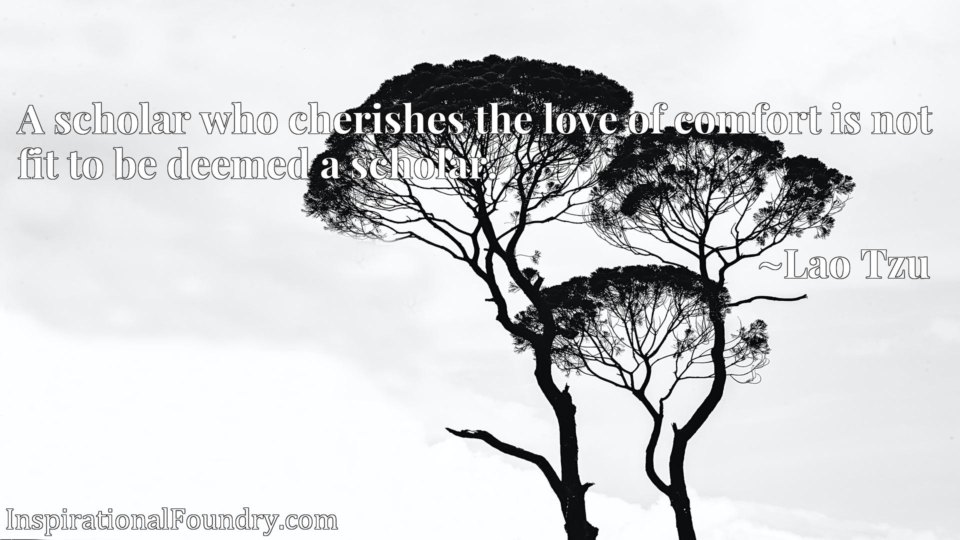Quote Picture :A scholar who cherishes the love of comfort is not fit to be deemed a scholar.