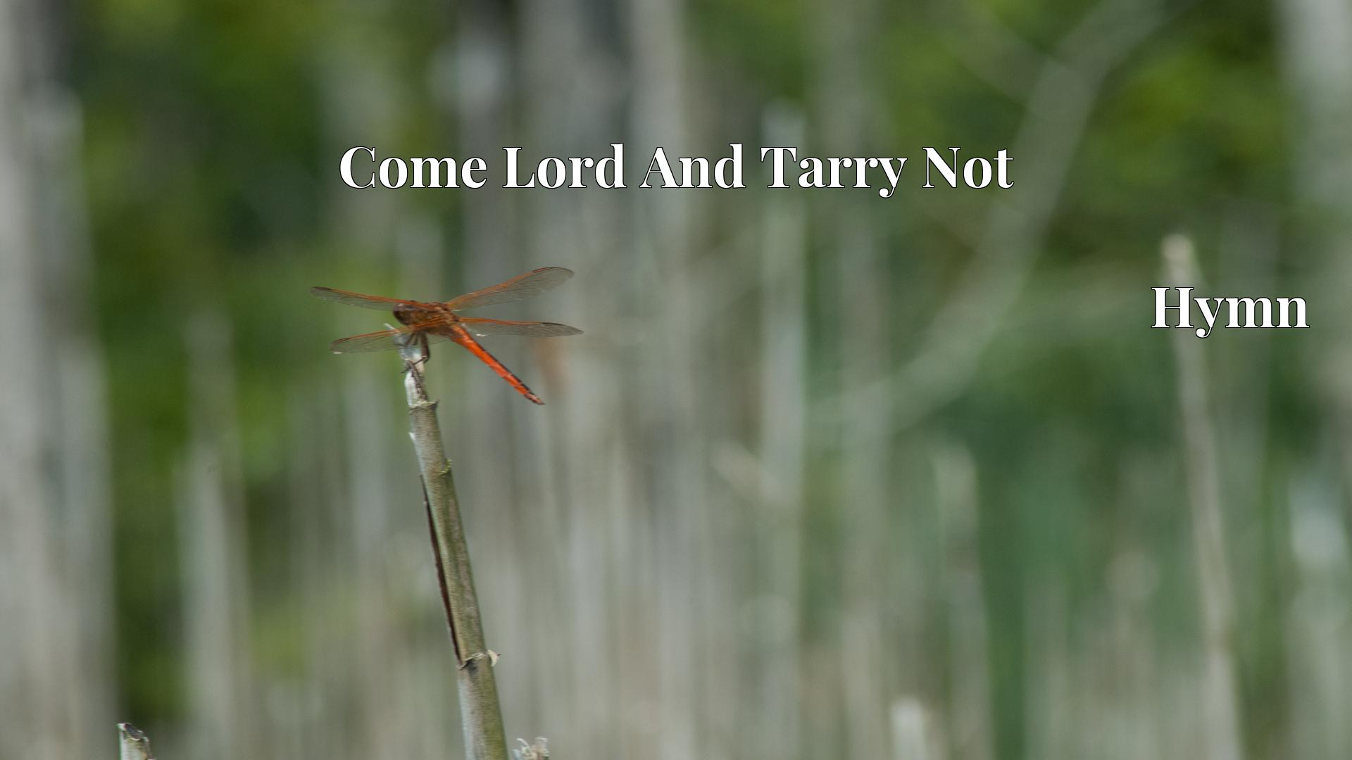 Come Lord And Tarry Not - Hymn