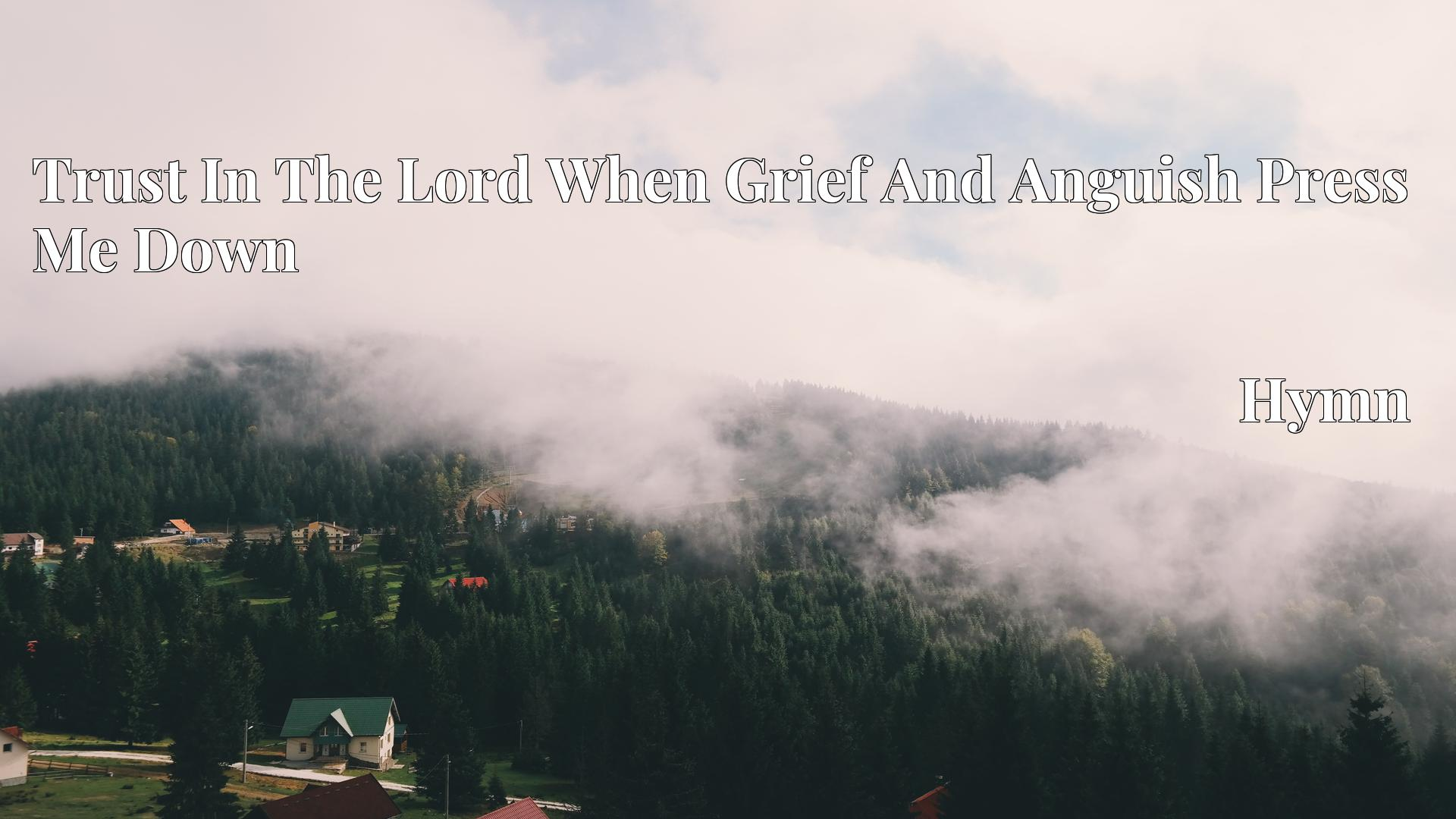 Trust In The Lord When Grief And Anguish Press Me Down - Hymn