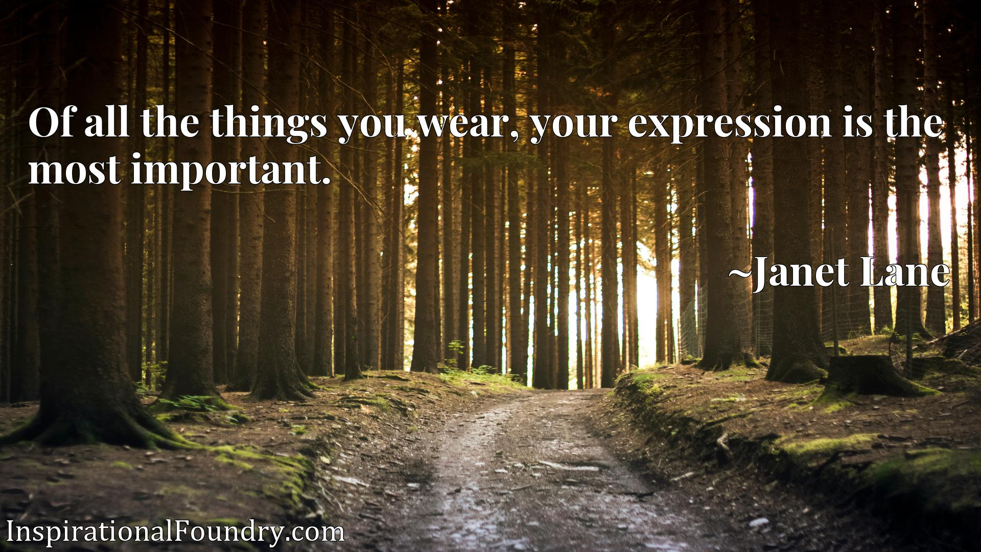 Quote Picture :Of all the things you wear, your expression is the most important.