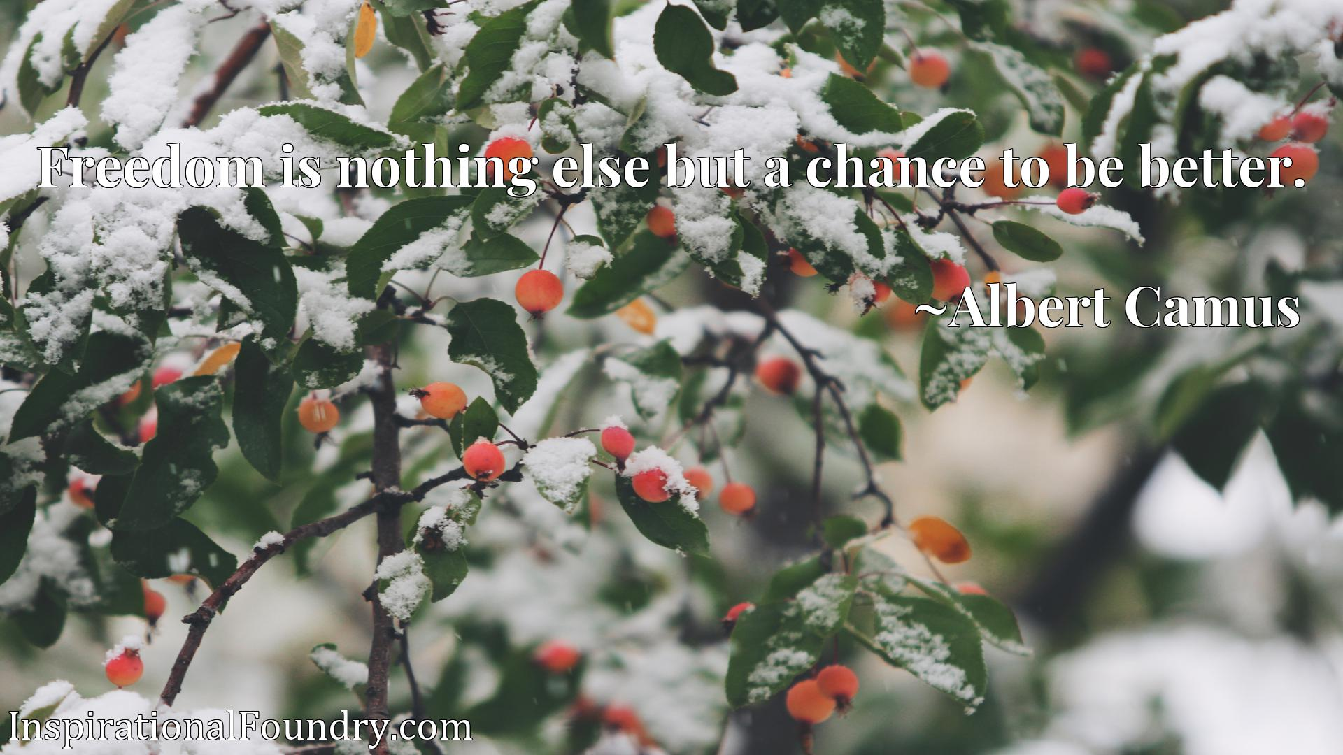 Quote Picture :Freedom is nothing else but a chance to be better.