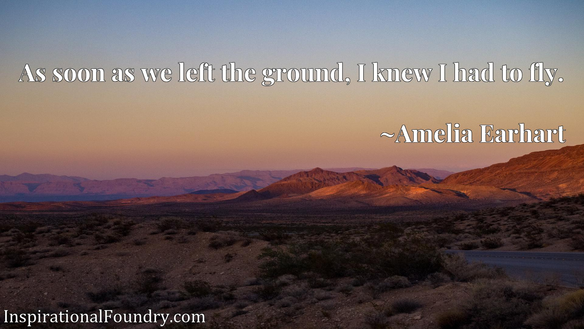 Quote Picture :As soon as we left the ground, I knew I had to fly.